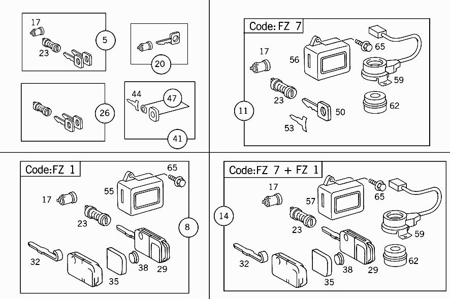 FG 903 072 - OUTFIT (LOCK,KEY,HANDLE) > Mercedes EPC Online