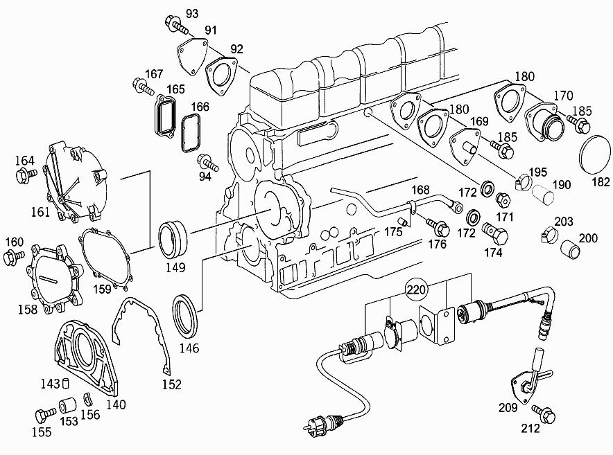M 457 916 - CYLINDER CRANKCASE,COVER,GASKET KIT > Mercedes