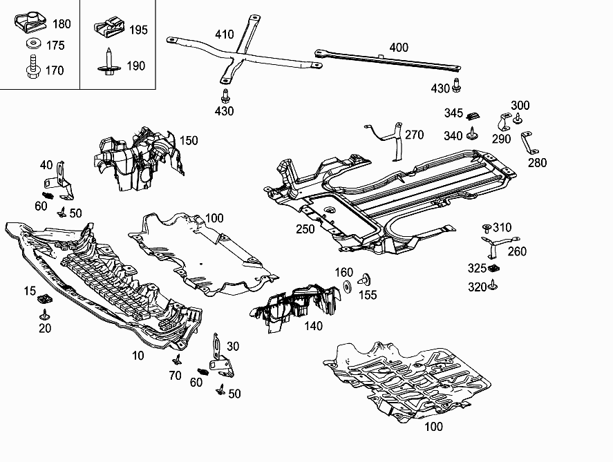 FG 205 340 - ENGINE COMPARTMENT PANELLING, GASOLINE VEHICLES