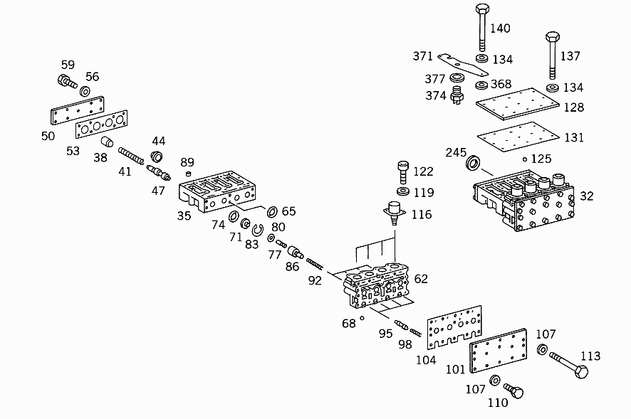 GA 721 327 - CENTRAL VALVE BODY ASSEMBLY AND ATTACHMENT