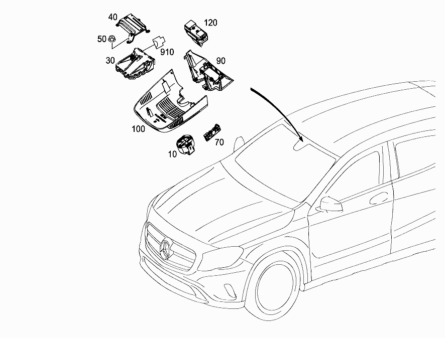 FG 156 945 - SENSORS, CAMERA AND SWITCH BEHIND WINDSHIELD