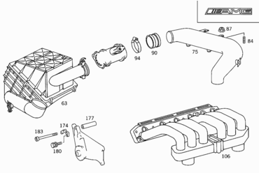 M 104 990 - INTAKE AND EXHAUST MANIFOLDS > Mercedes EPC