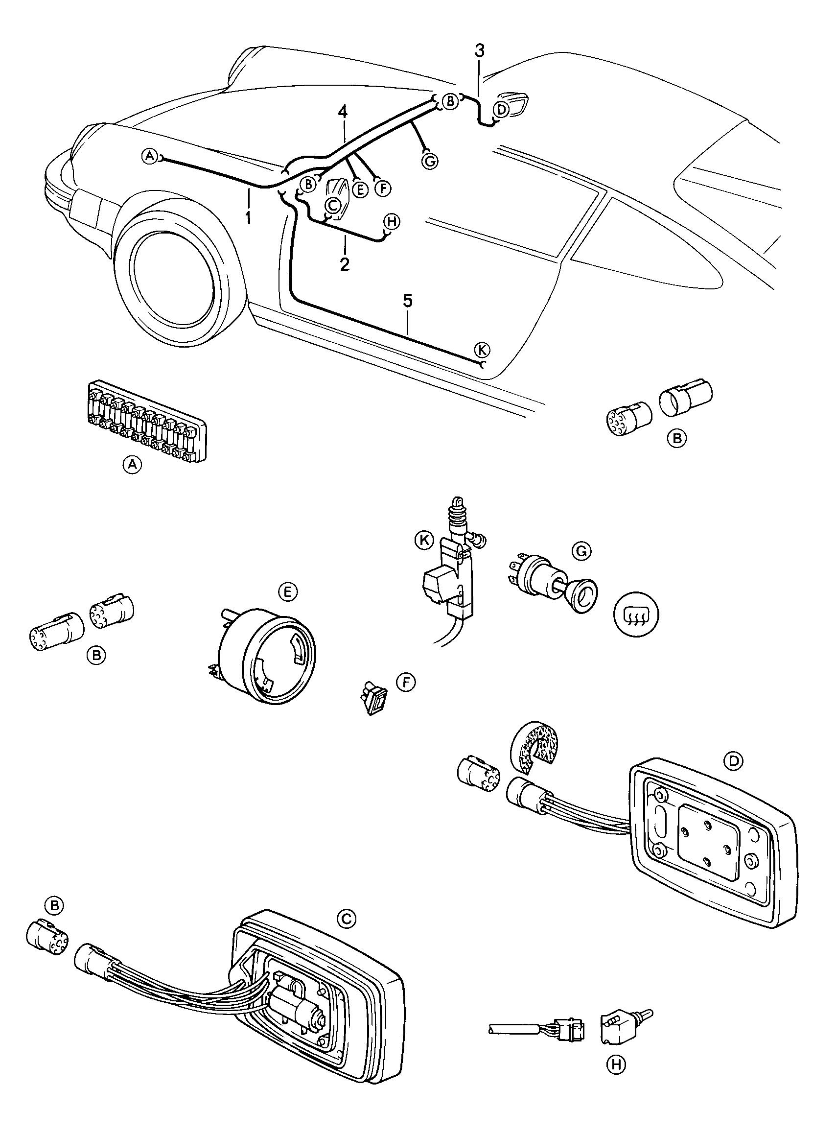 Porsche 911 1984 1986 Door Mirror Central Locking System Wiring Pet