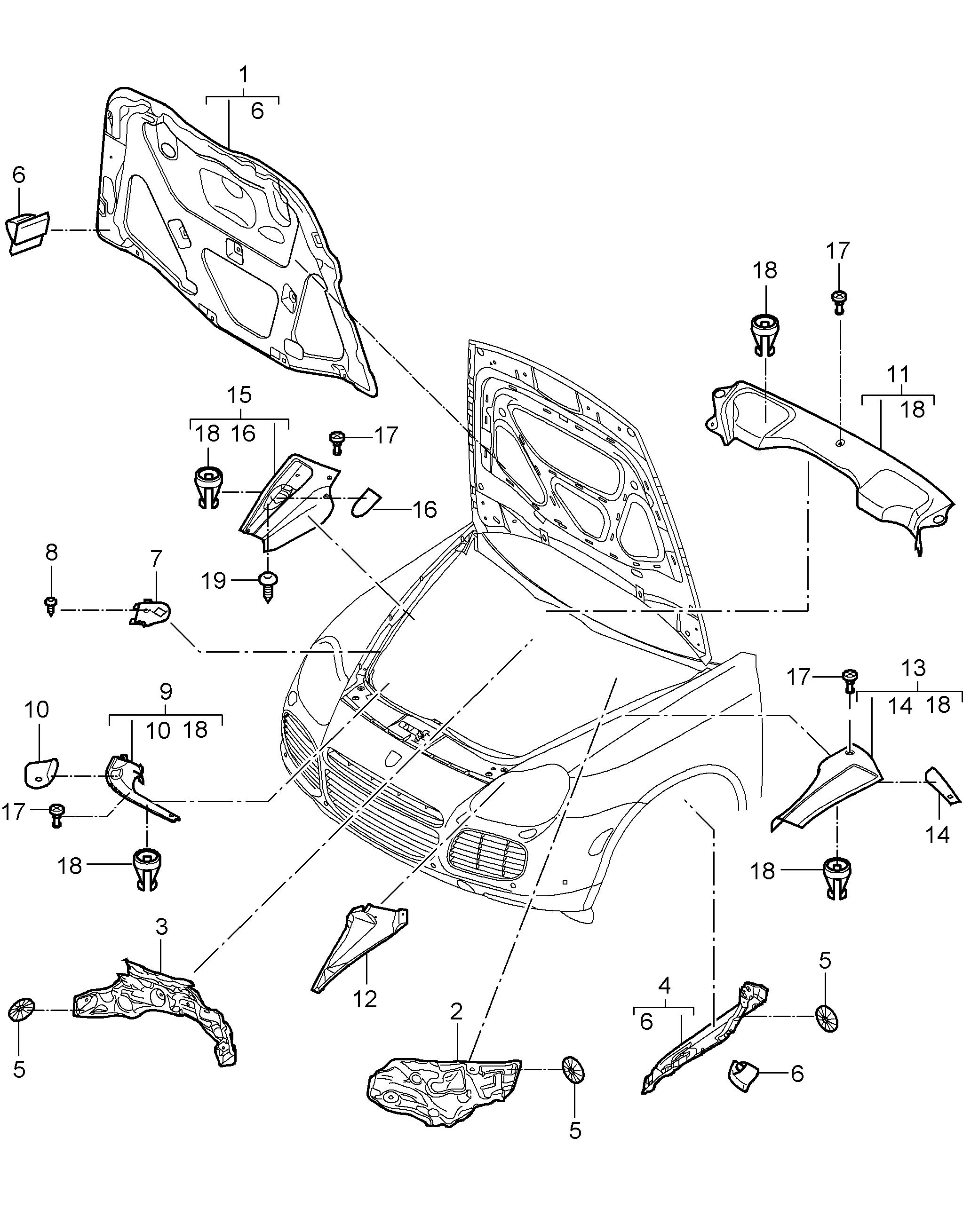 5x Befestigungsstopfen Motorraum Porsche Cayenne