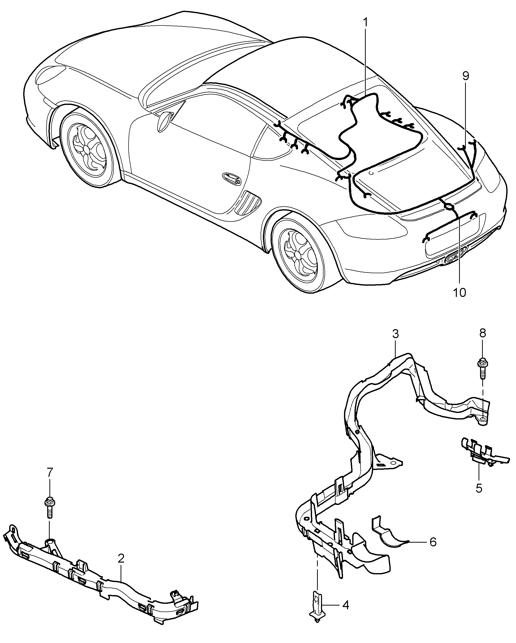 Porsche Cayman 2006 2008 Shock Absorber Engine Rear End Wiring Harness Pet