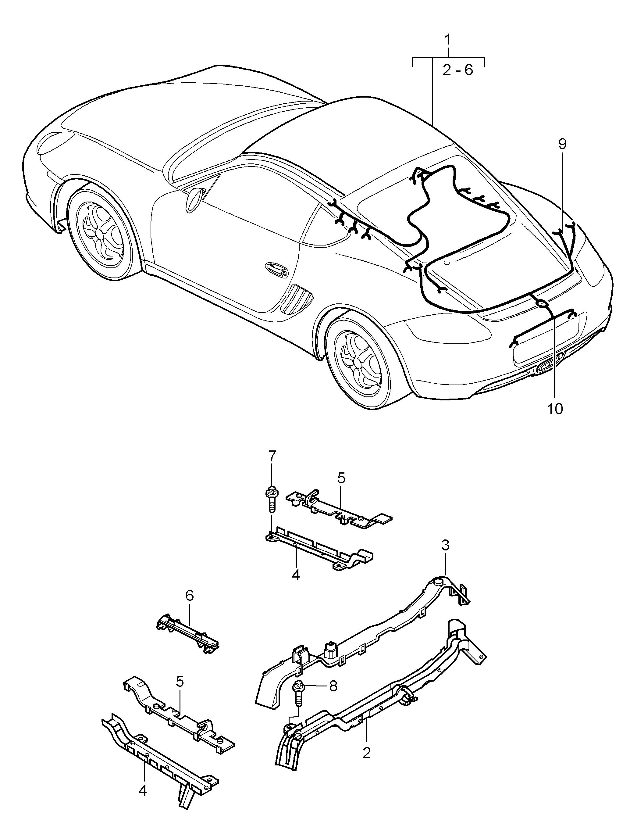 Porsche Cayman 2nd Generation 2009 2012 Shock Absorber Vehicle Wiring Harness Repair Pet
