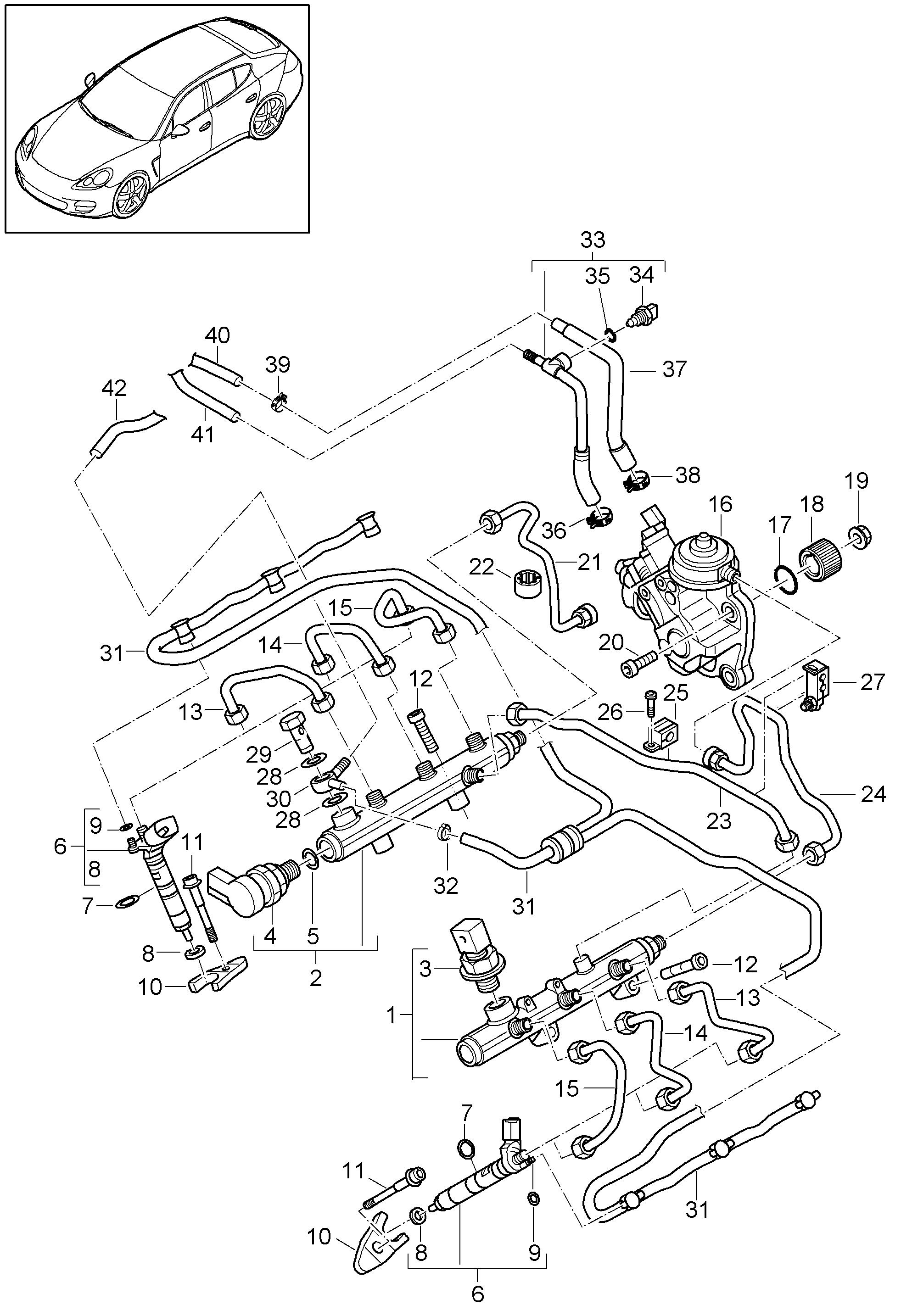 Porsche Panamera 2010 2016 High Pressure Injector