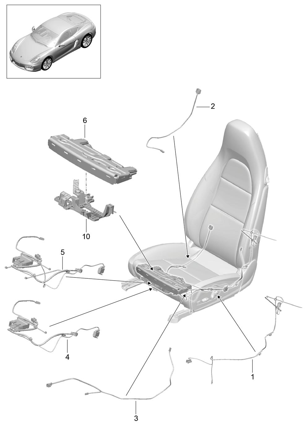 Porsche Cayman 2014 2016 Sports Seat Control Unit Electric Wiring Harness Pet
