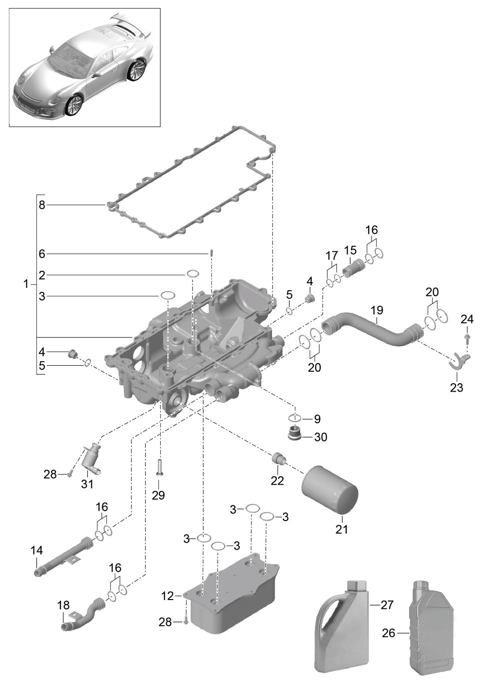 Porsche 991 Gt3 2014 2017 Oil Filter Bracket Pet Engine Diagram