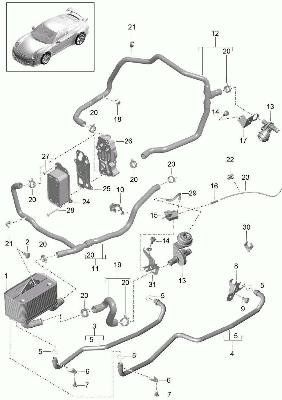 Porsche 991 Gt3 2014 2017 Oil Tube Transmission Heat Engine Diagram Pet