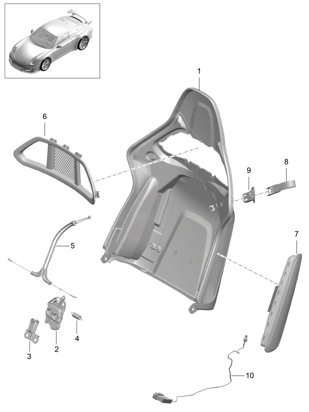 Porsche 991 GT3 (2014 - 2017) - Backrest shell  Bucket seat