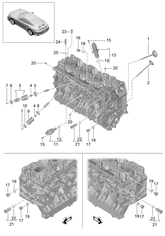 Porsche 991 Turbo (2014 - 2017) - Cylinder head  Valves