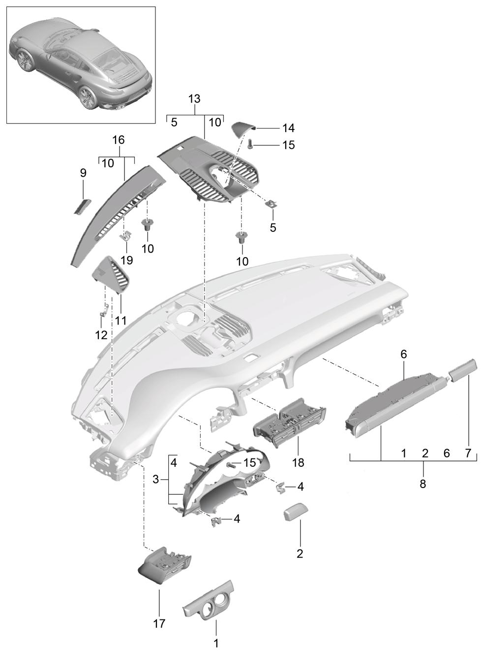Porsche 991 Turbo (2014 - 2017) - Upper part  Dashboard trim