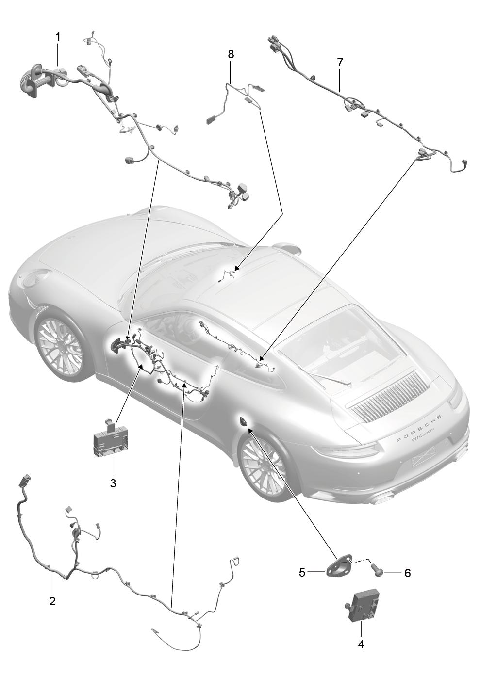 Porsche 911 Carrera 2nd Gen 2017 Centre Console Control Wiring Harness Pet