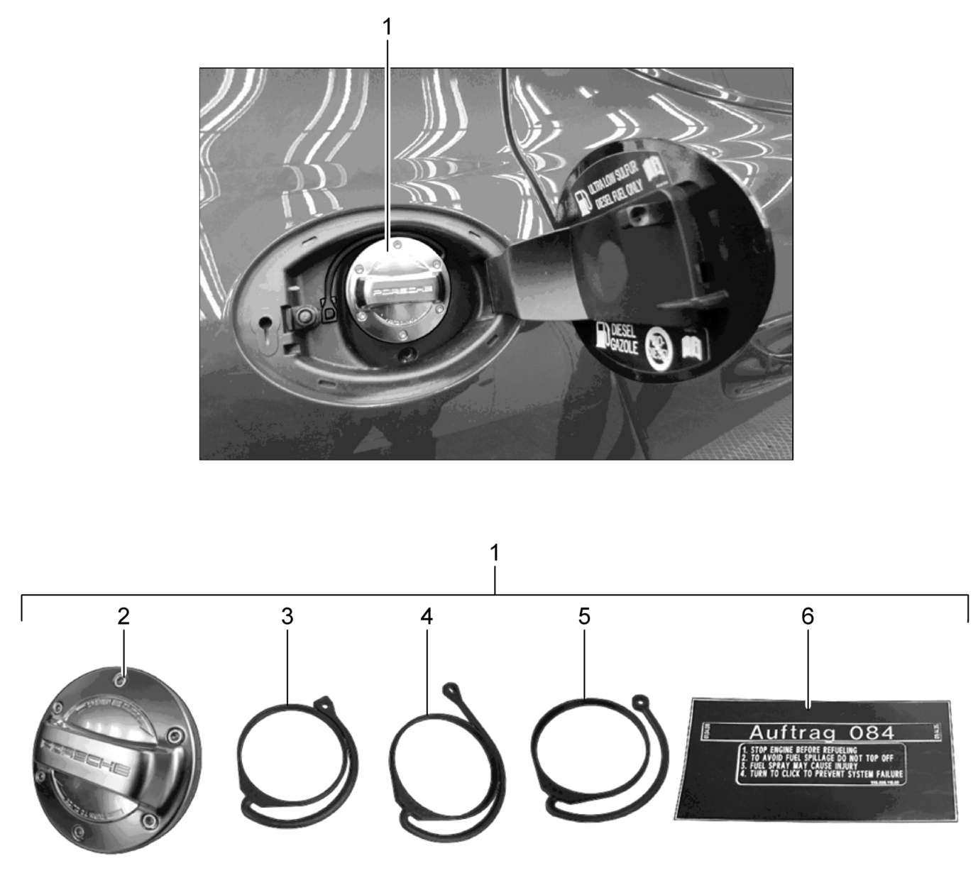 Porsche en aluminium Look Bouchon de r/éservoir