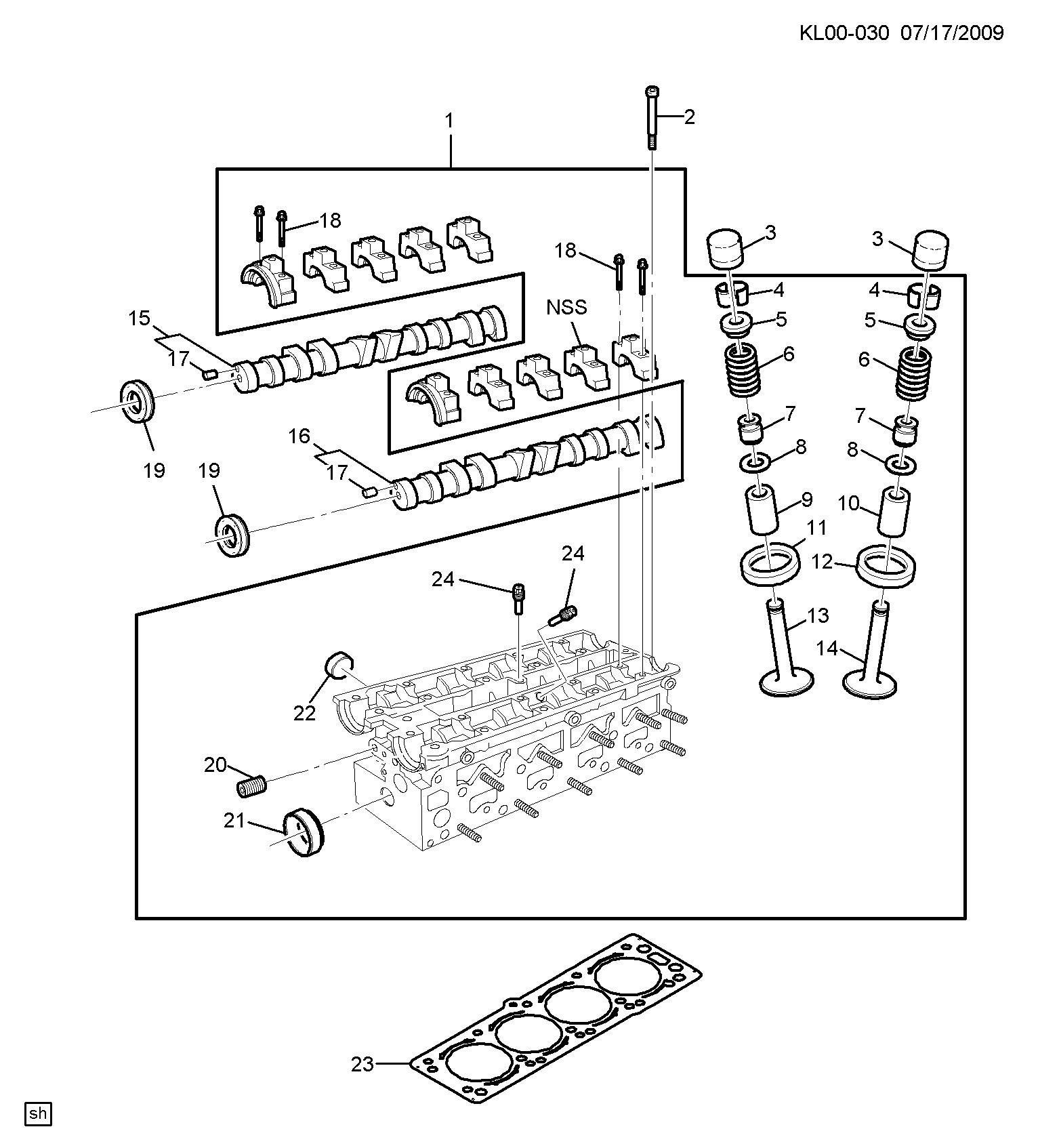 CAPTIVA (C100) - Engine asm-2 4l l4 part 6 cylinder head