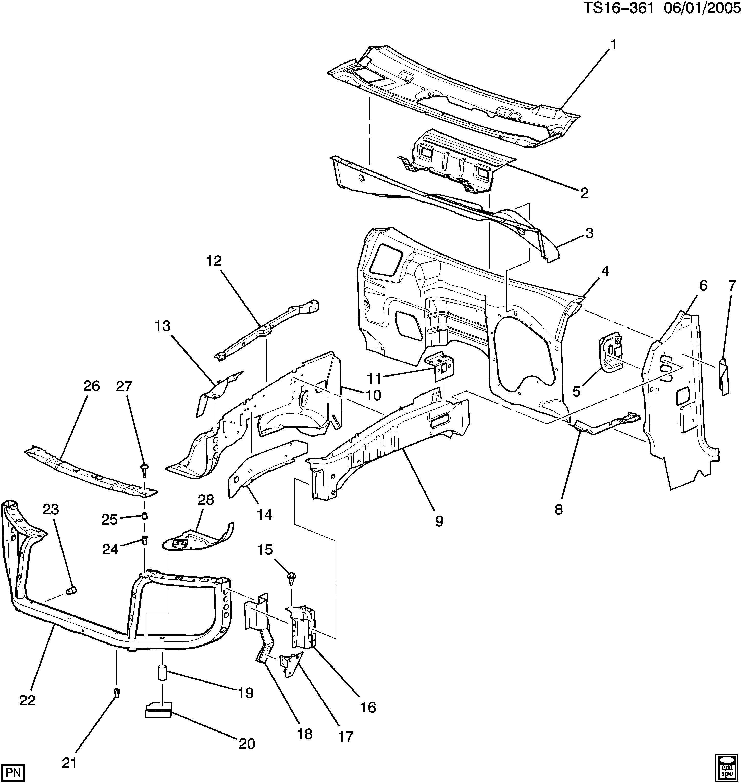 Gmc Envoy 2wd St106 Sheet Metal Cowl Engine Compartment Epc Diagram Spare Parts Catalog