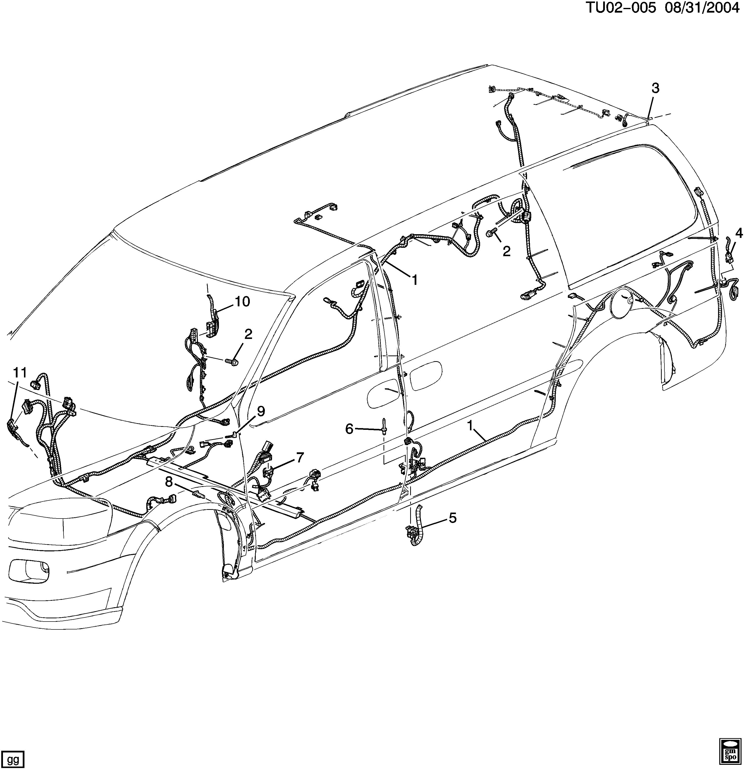 Pontiac Montana SV6 - Ext wheelbase (2WD) - UX1 WIRING HARNESS/BODY > EPC  Online > Nemiga.com