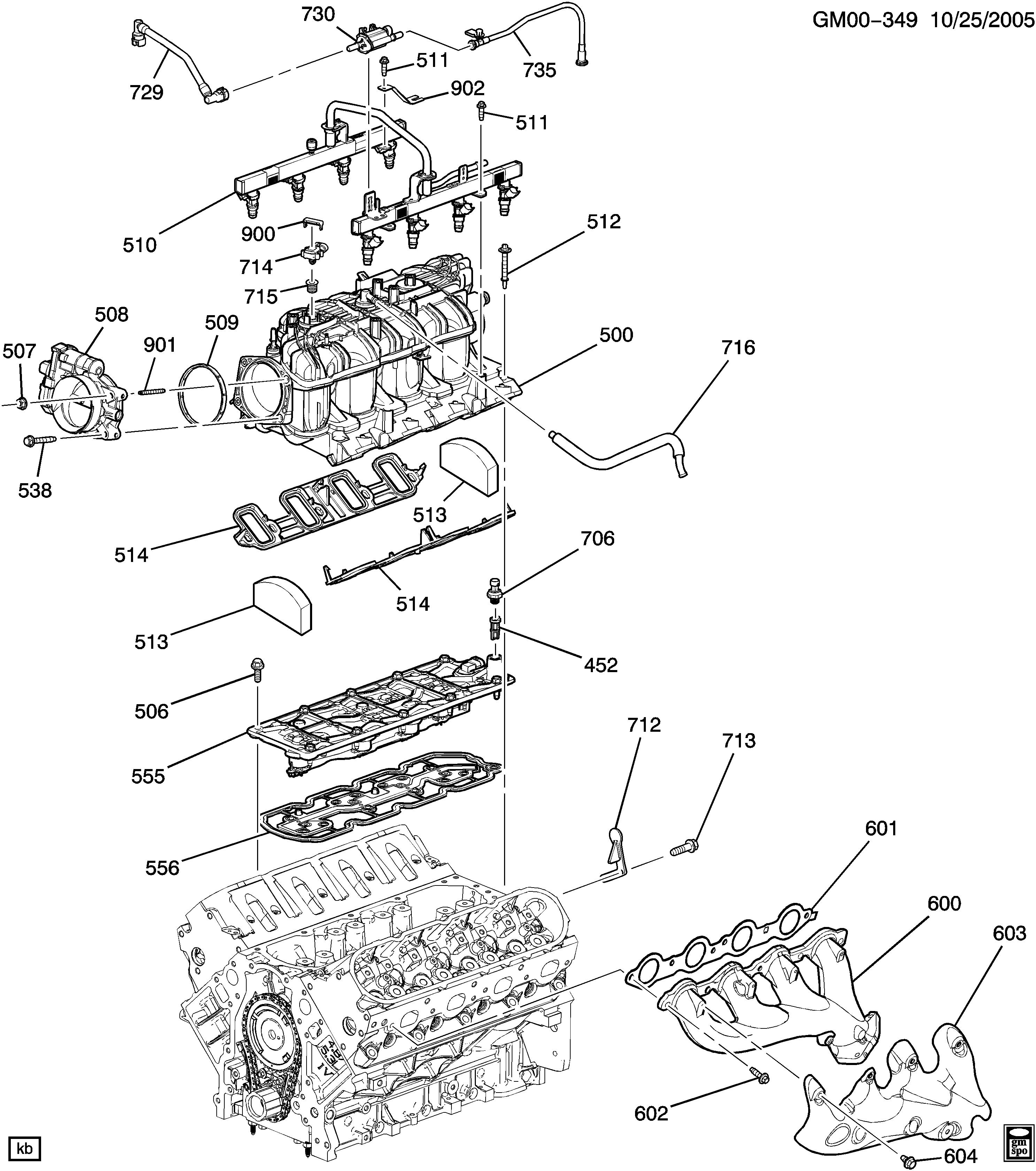 engine asm-5 3l v8 part 5 manifold & fue…