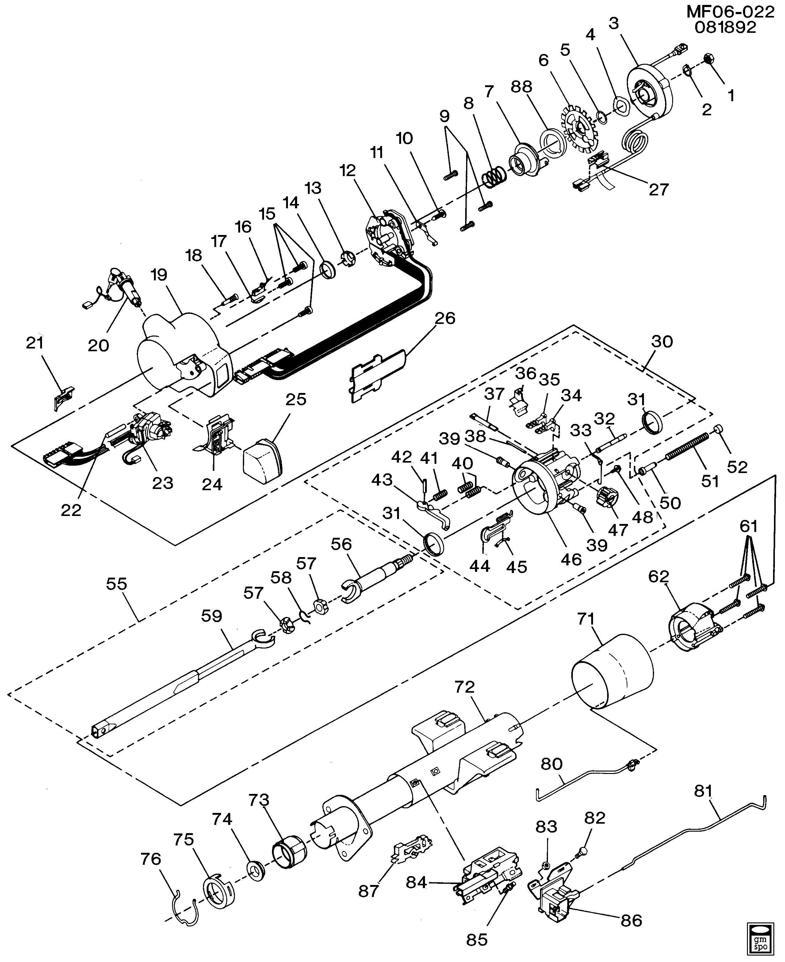 Pontiac Firebird - F STEERING COLUMN/TILT (S I R  F/S, A T