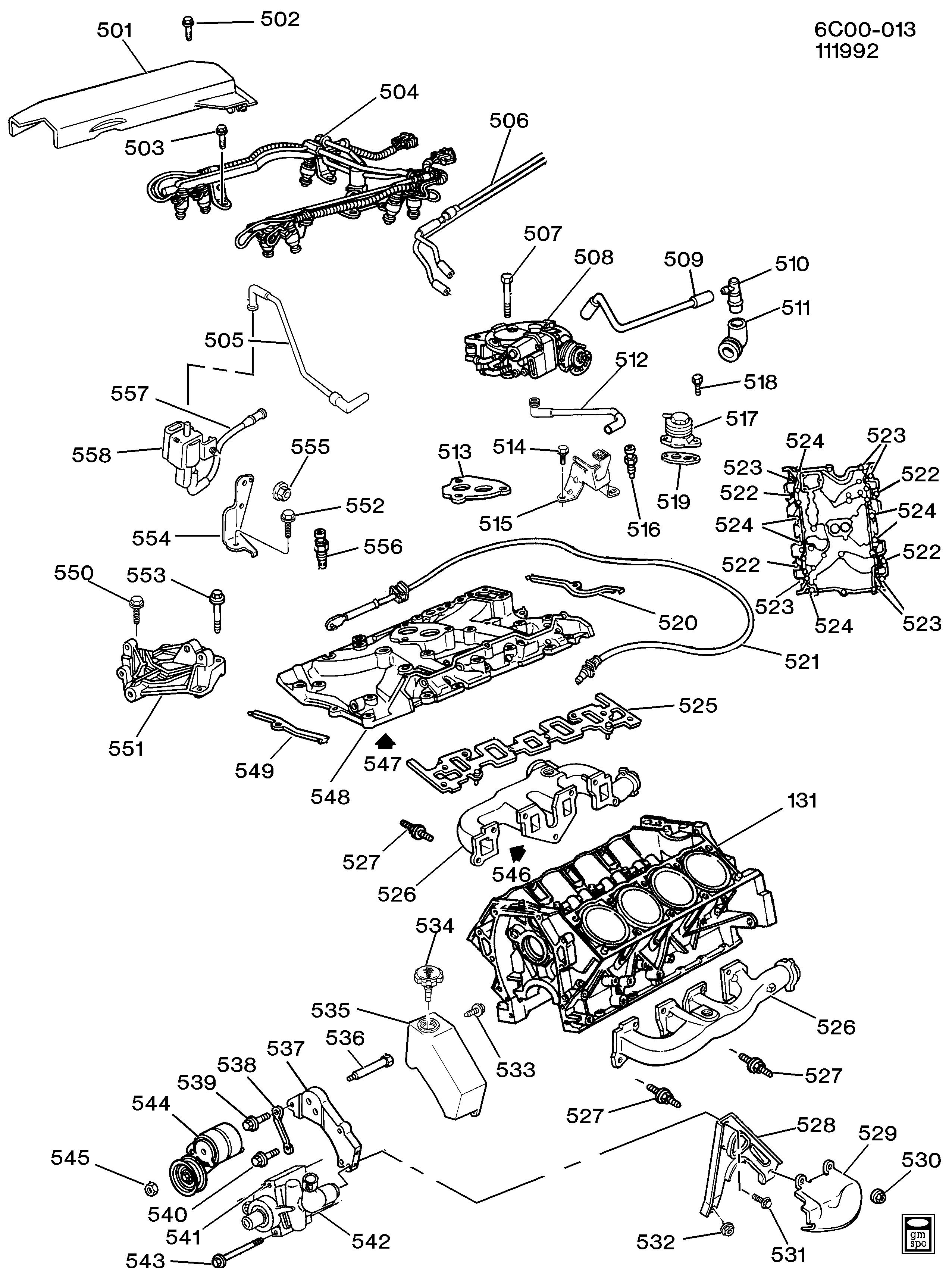 cadillac deville - c engine asm-4.9l v8 part 5 manifolds & related parts  (l26/4.9b) > epc online > nemiga.com  parts catalogs