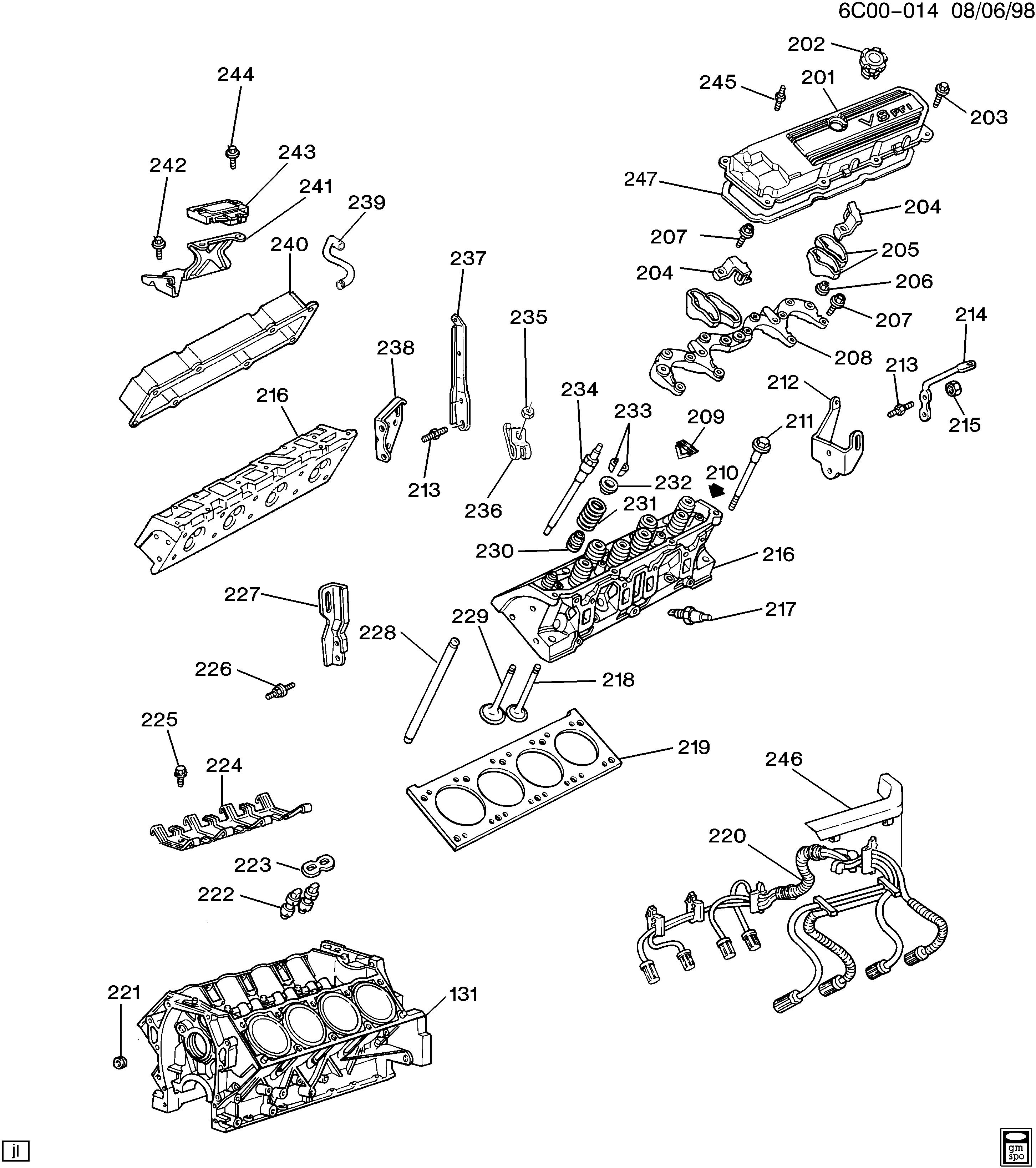 cadillac deville - c engine asm-4.9l v8 part 2 cylinder head & related parts  (l26/4.9b) > epc online > nemiga.com  parts catalogs