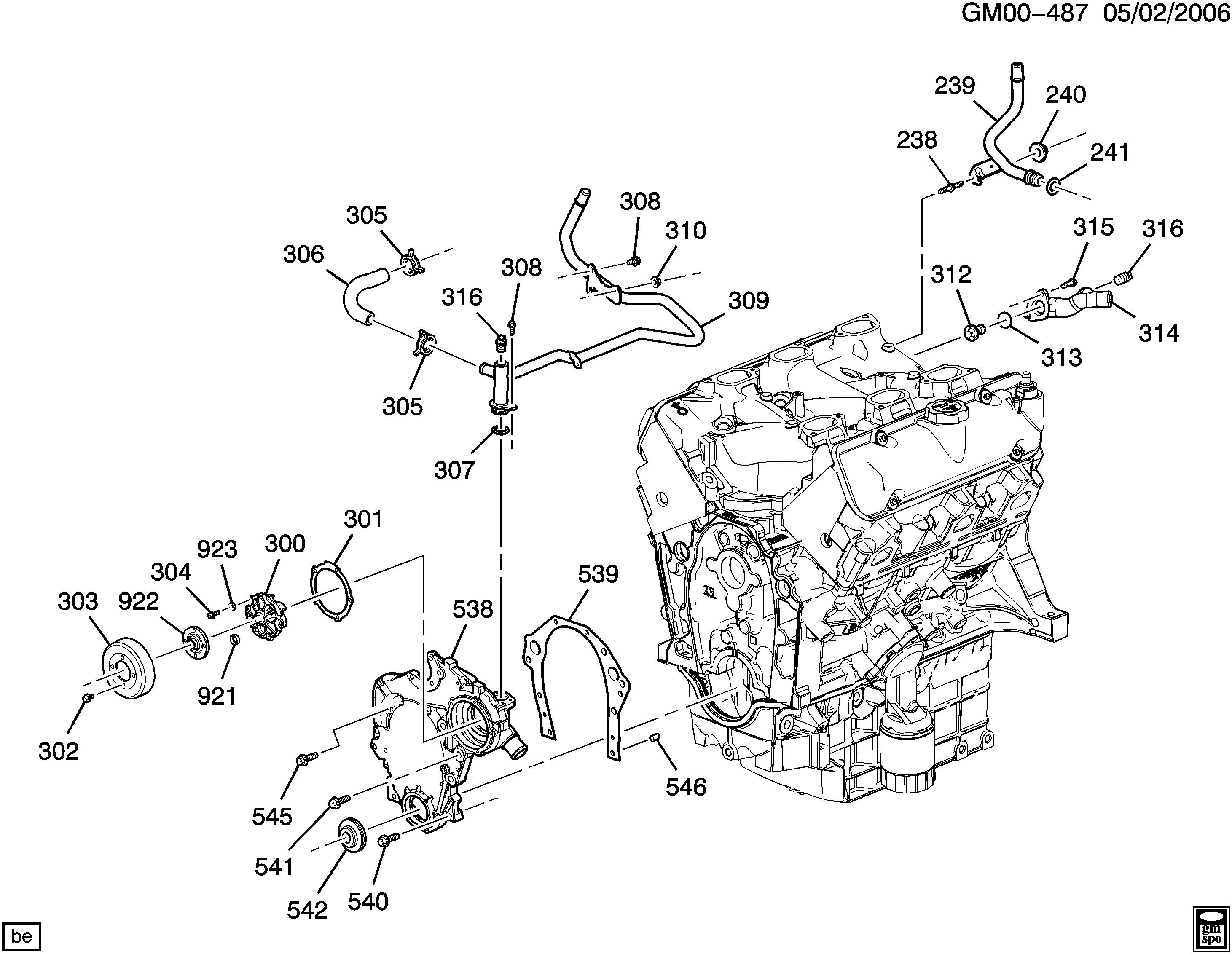 uplander (2wd) - engine asm-3.5l v6 part 3 front cover and cooling >  chevrolet epc online > nemiga.com  nemigaparts.com