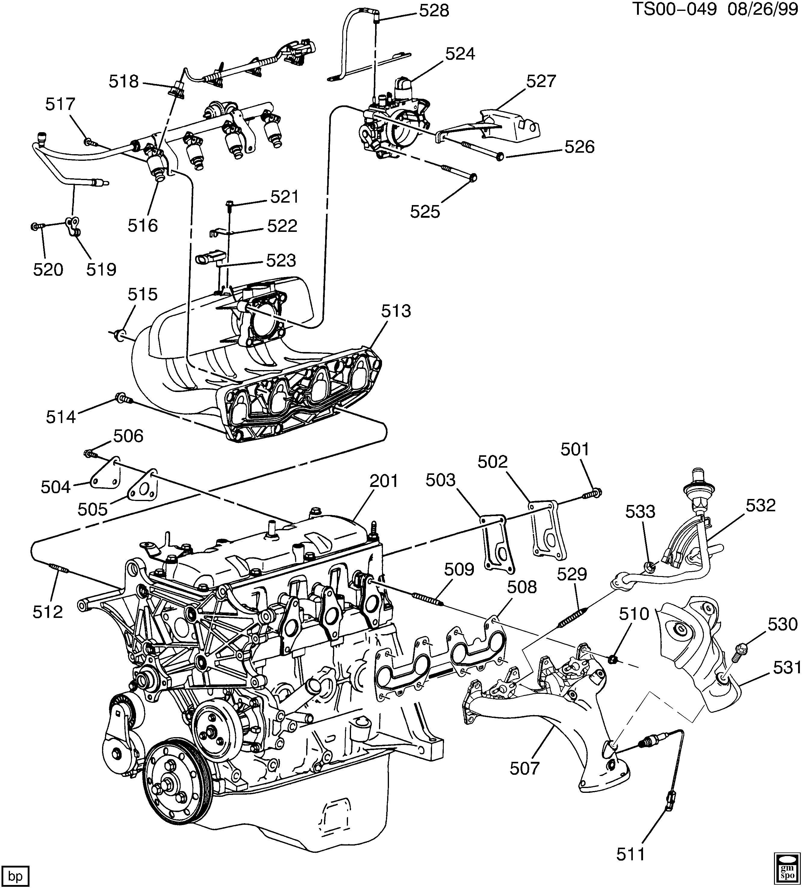BLAZER TRAILBLAZER 2WD Engine asm 2 2l l4 part 5 manifold & fuel