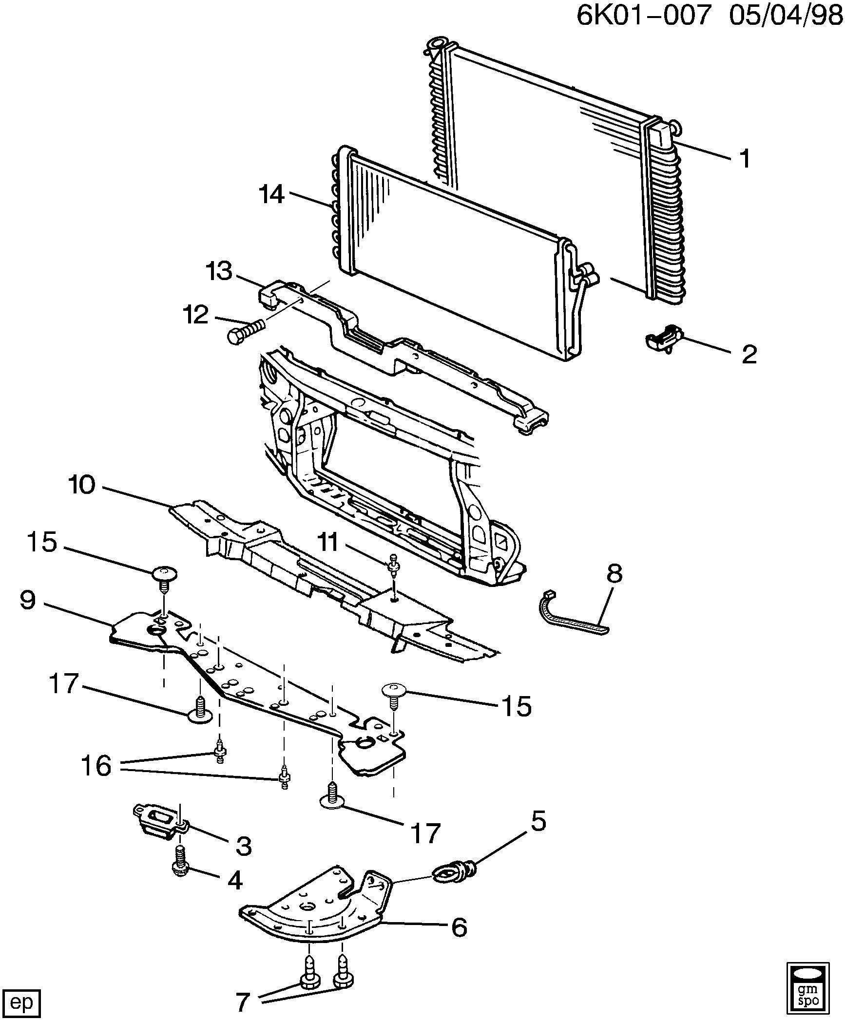 cadillac deville - kf radiator mounting & related parts > epc online >  nemiga.com  parts catalogs