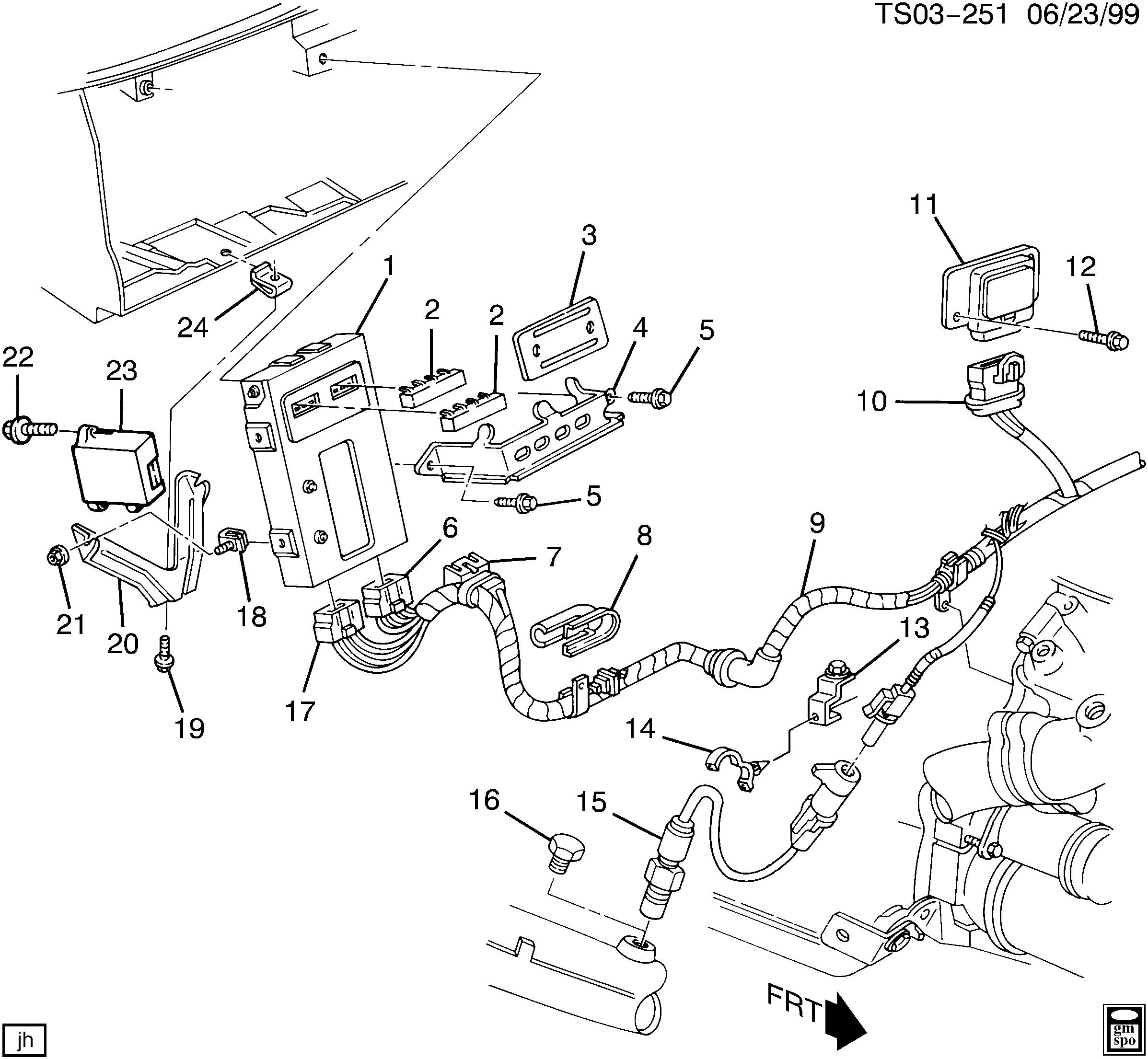 GMC VADA 2WD - S E.C.M. MODULE & WIRING HARNESS (LL2/2.8R ... Gmc Typhoon Ecm Wiring Diagram on