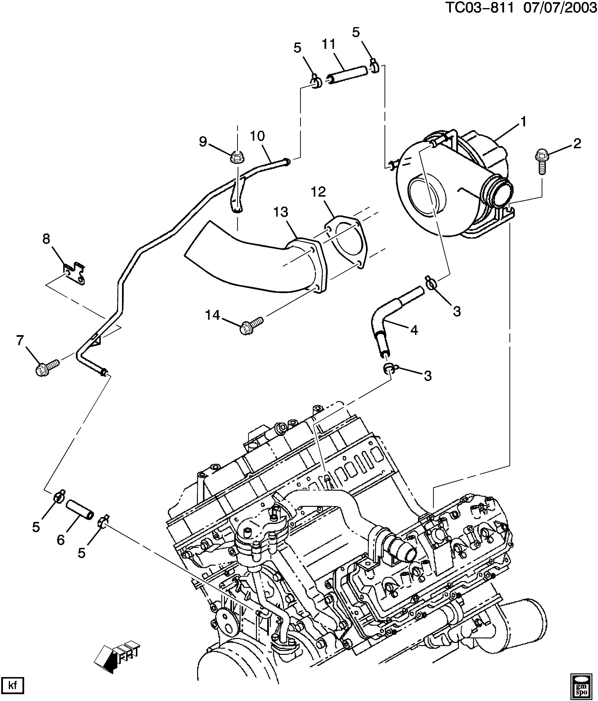 AVALANCHE 1500 2WD - Turbocharger cooling system > Chevrolet ... on lb7 turbo coolant hose, lb7 return line diagram, lb7 duramax,