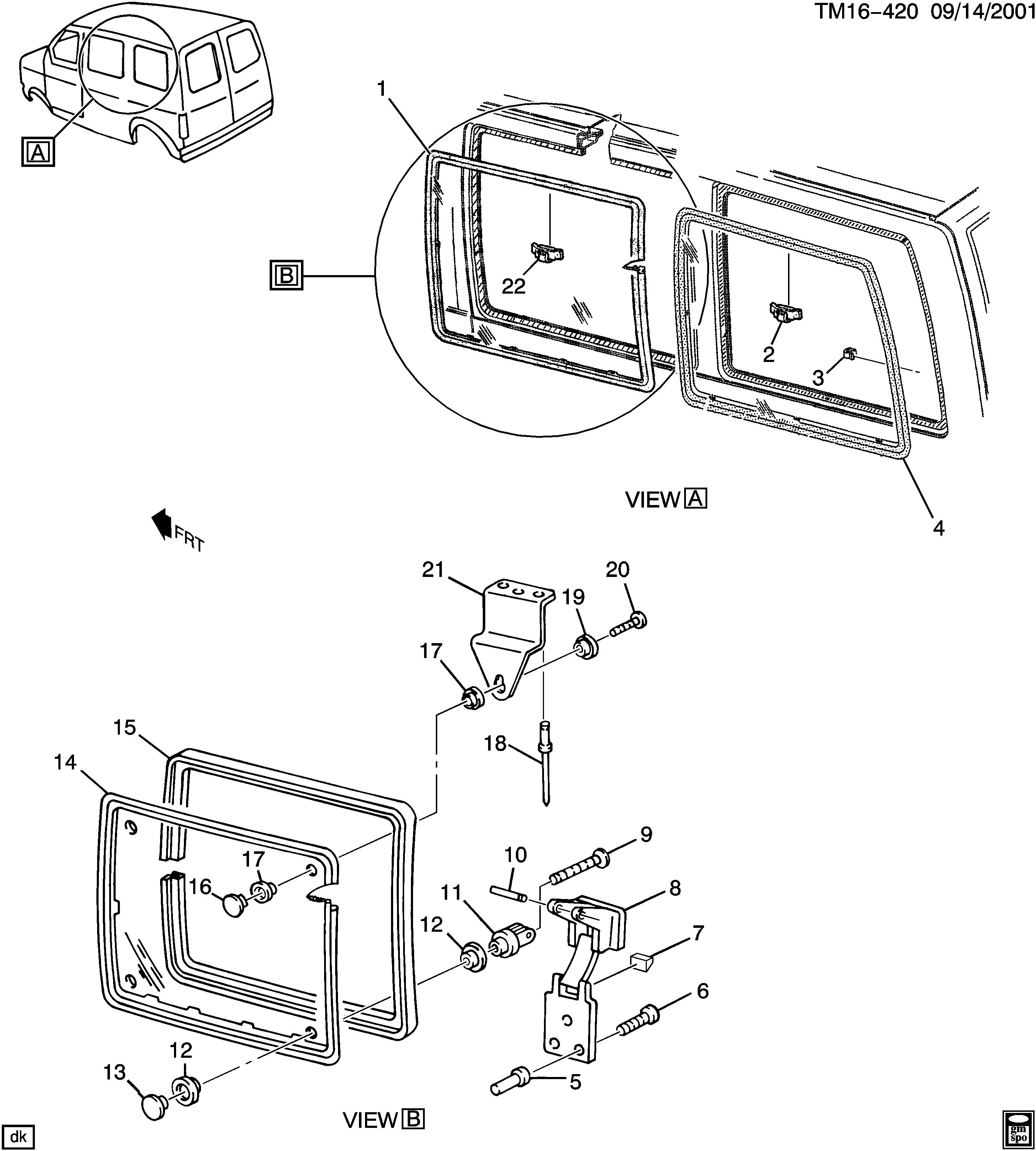 GM 14047336 RETAINER-BODY SI FRT WDO HGE