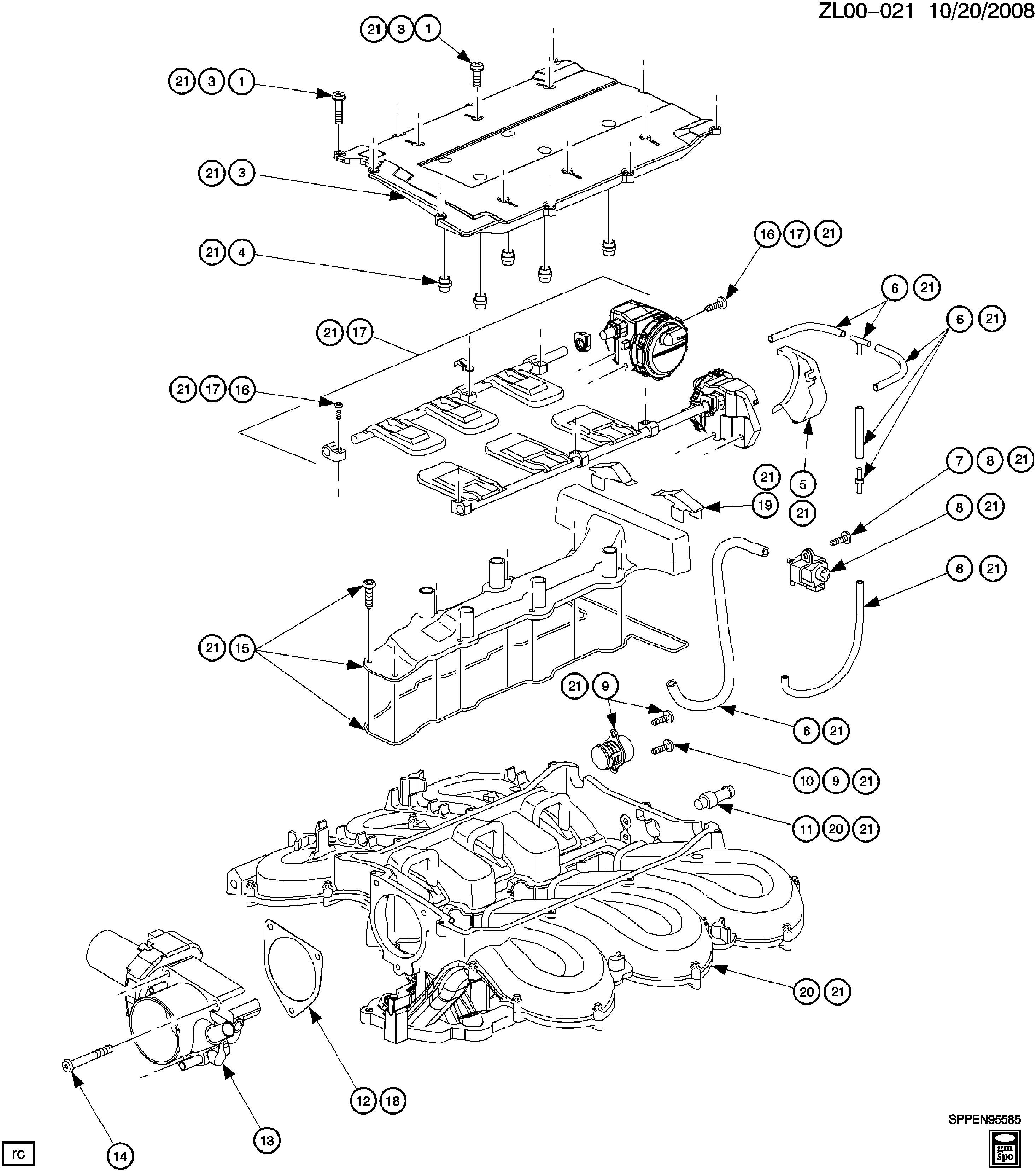 L81 Engine Diagram Manual E Books Saturn Vue Wiring L Asm 3 0l V6 Intake Manifold U0026 Throttle Bodyl