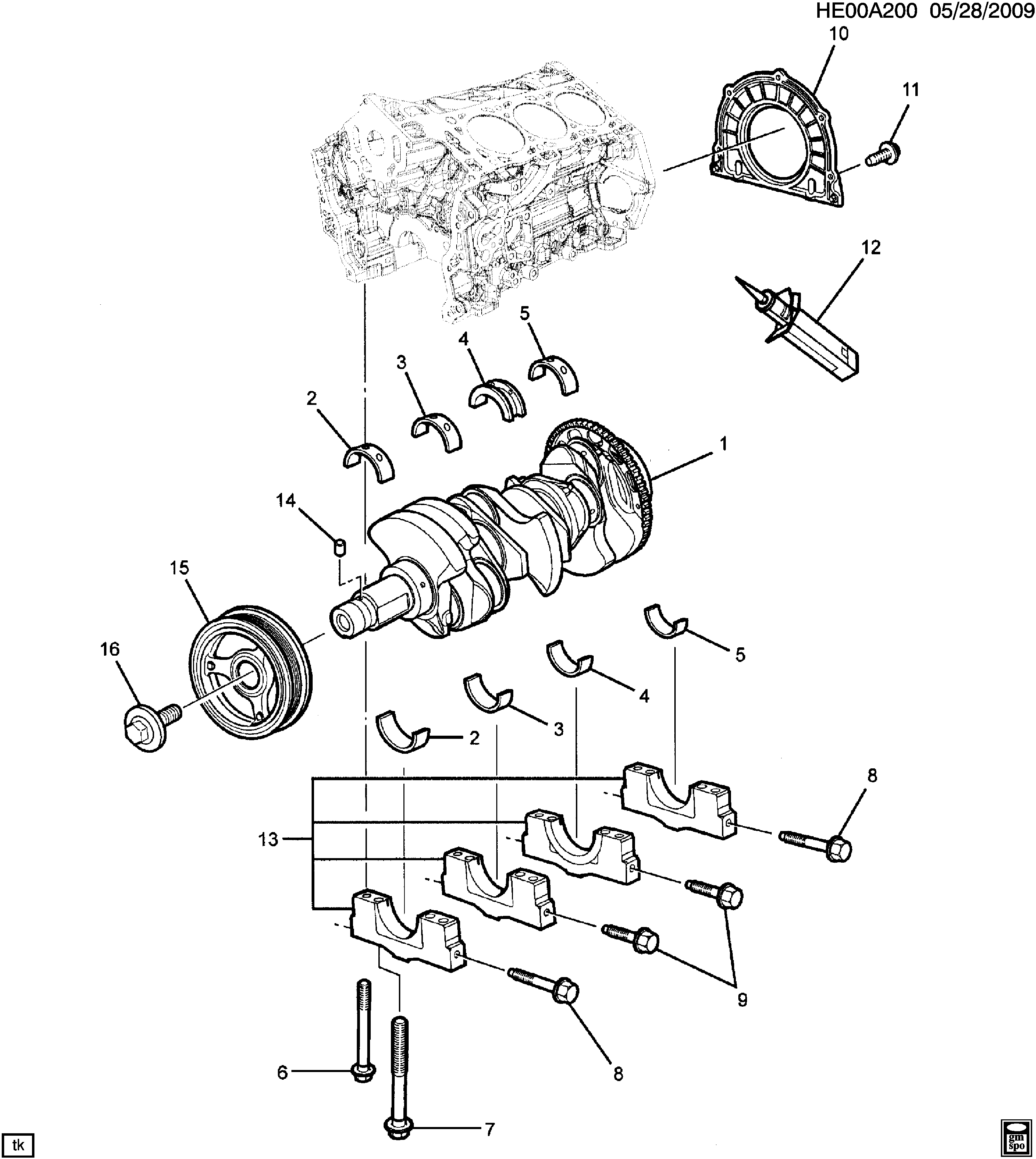 pontiac g8 - e engine asm-3.6l v6 crankshaft (ly7/3.6-7) > epc online >  nemiga.com  parts catalogs