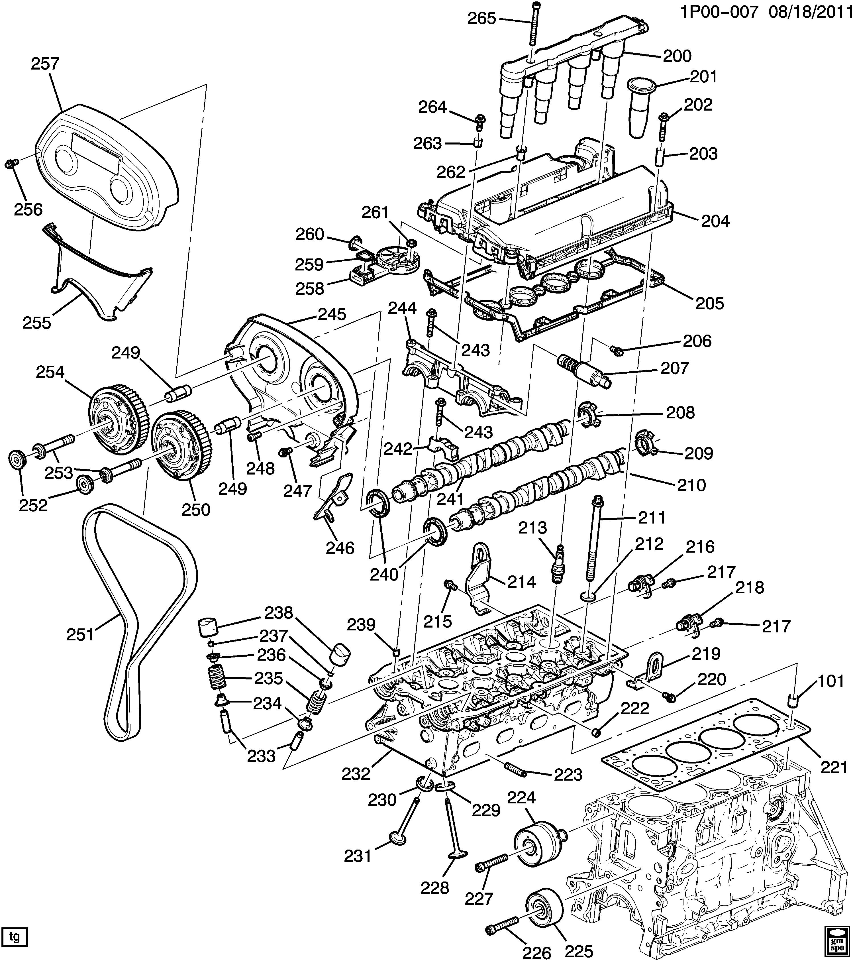 Cruze Engine Asm 18l L4 Part 2 Cylinder Head Related Parts Diagram Spare Catalog Epc