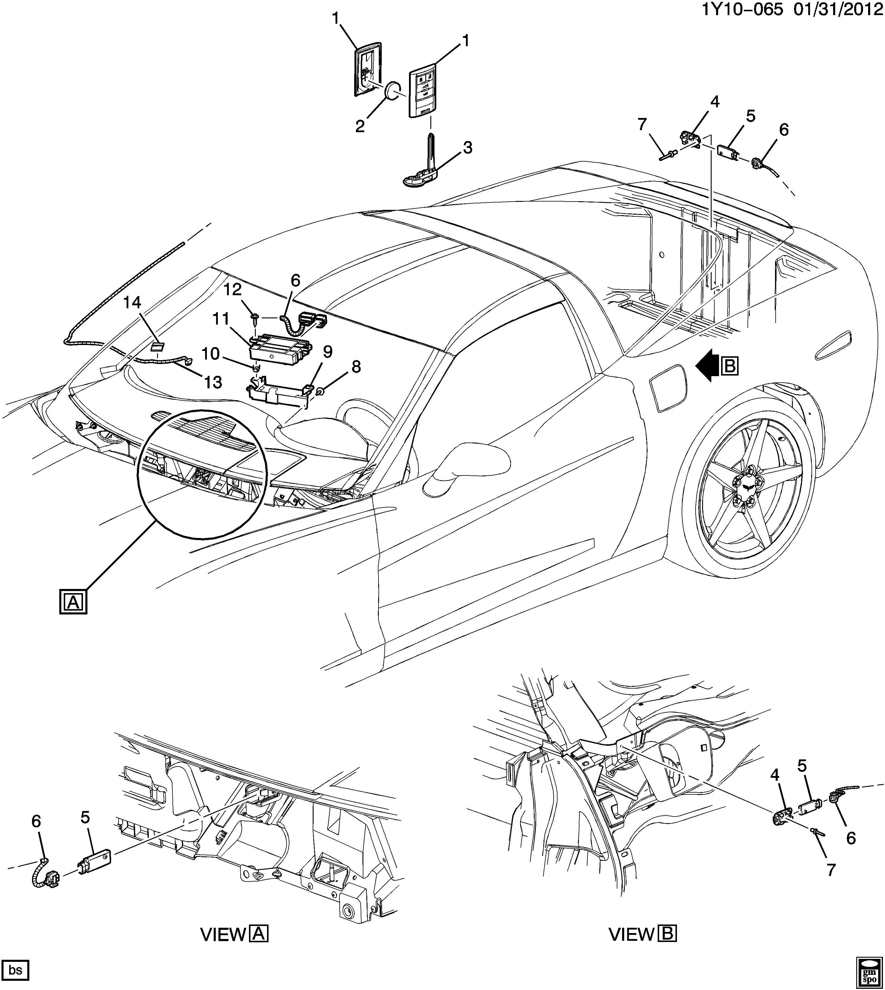 Corvette Entry system keyless remote Chevrolet EPC line