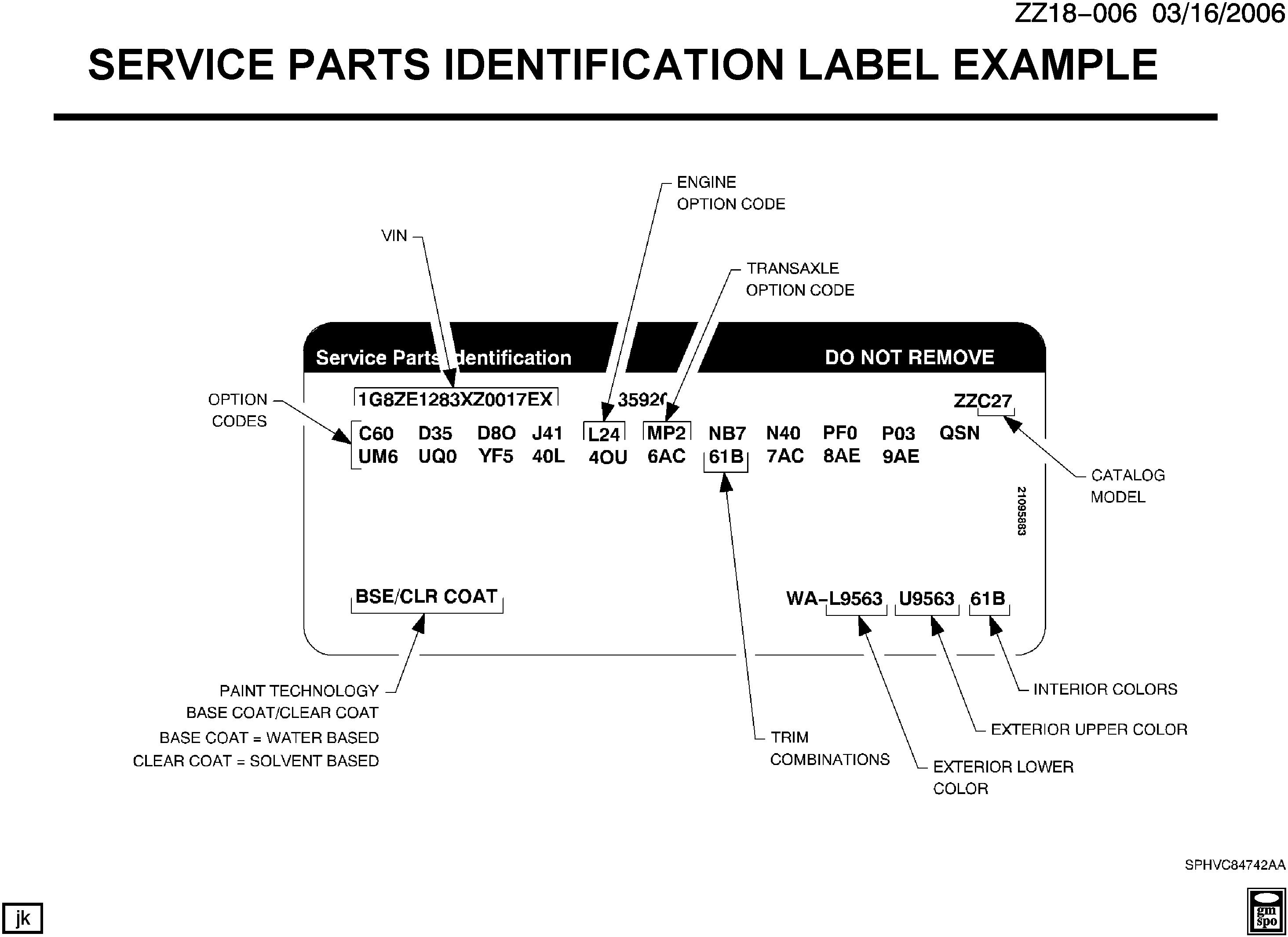 Saturn S Series Z Service Parts Identification Label Example Epc L24 Engine Diagram Spare Catalog