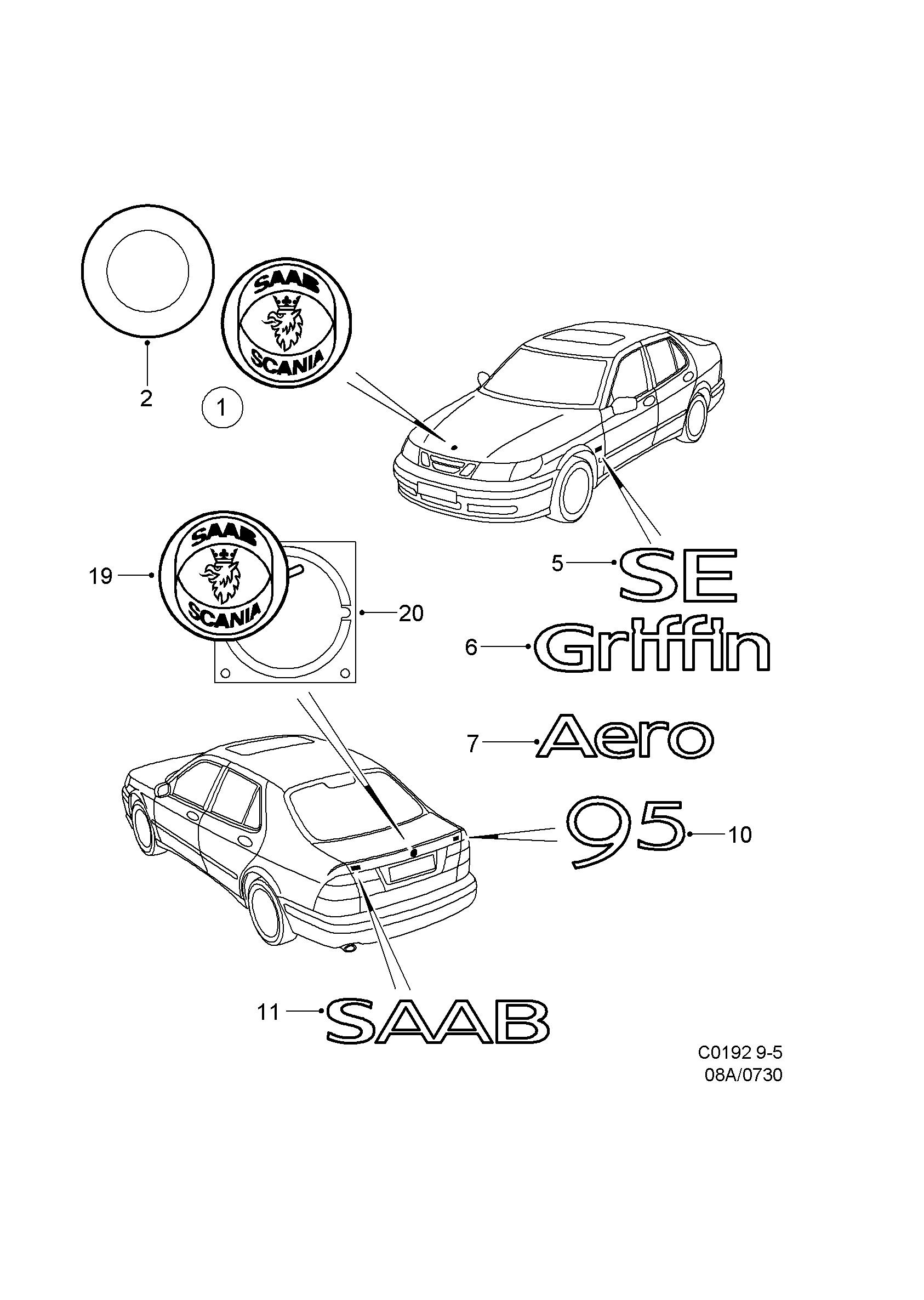saab 9 5 9600 emblem 1998 2000 epc online nemiga 2001 Saab 9 5 Thermostat