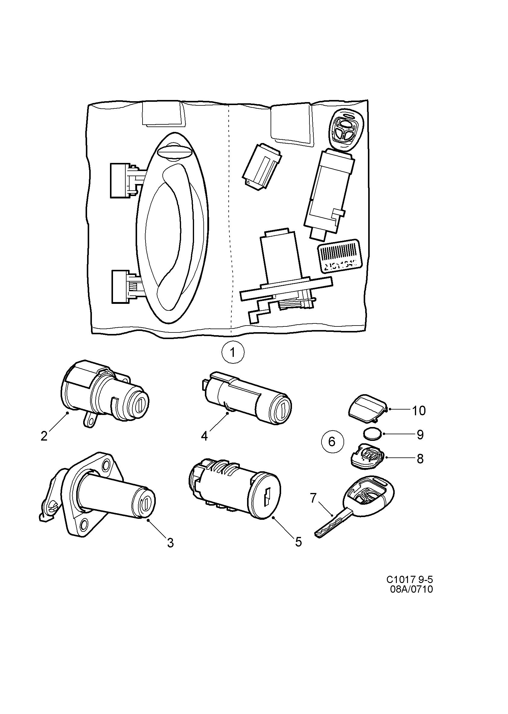 saab 9 5 9600 lock lock cylinder set 2001 2003 33026906 Saab 9-5 Interior lock lock cylinder set 2001 2003 33026906