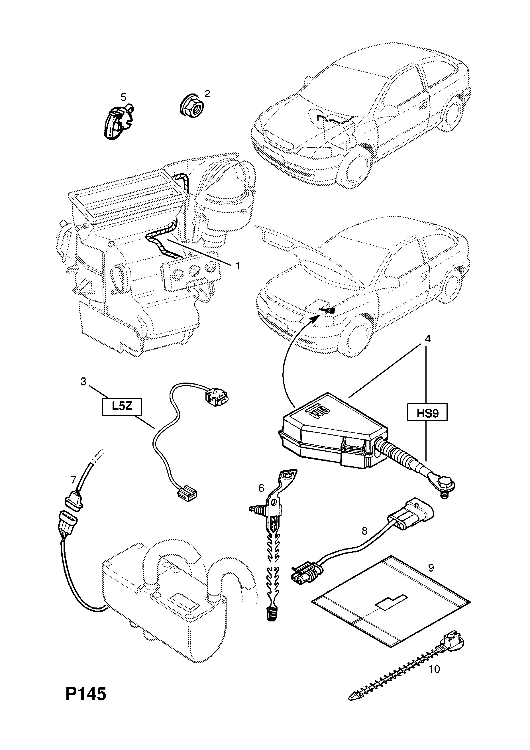 Opel Astra G Zafira A Electric Heater System Wiring Harness Fog Light Diagram Spare Parts Catalog Epc