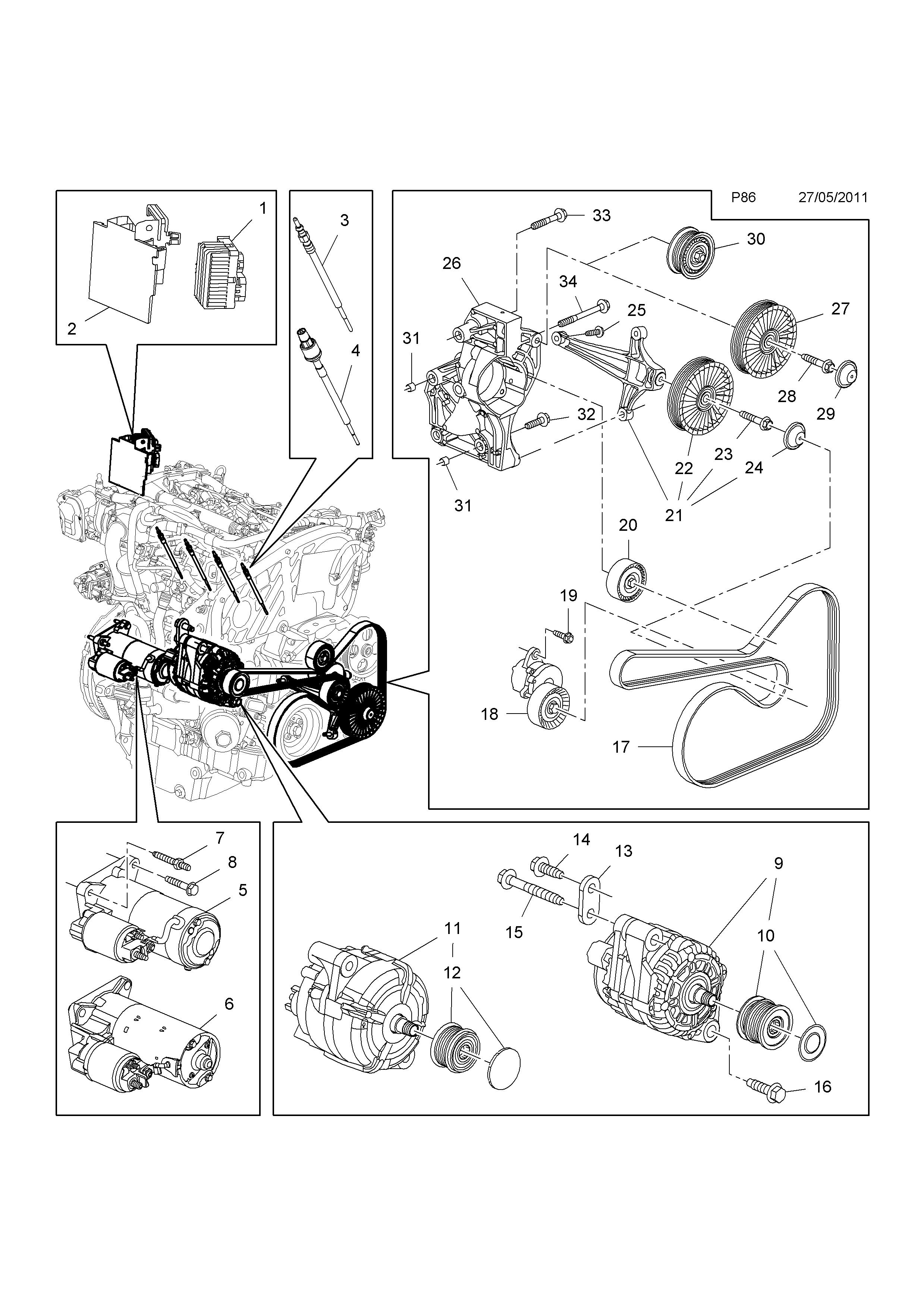 vauxhall astra fan belt diagram