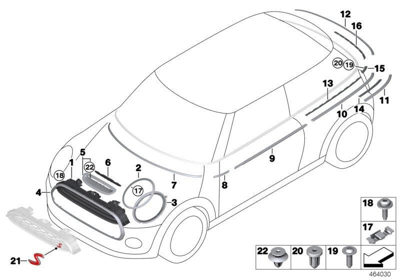Mini Cooper S Outer Trims Ornamental Grille I Bmw Etk Online