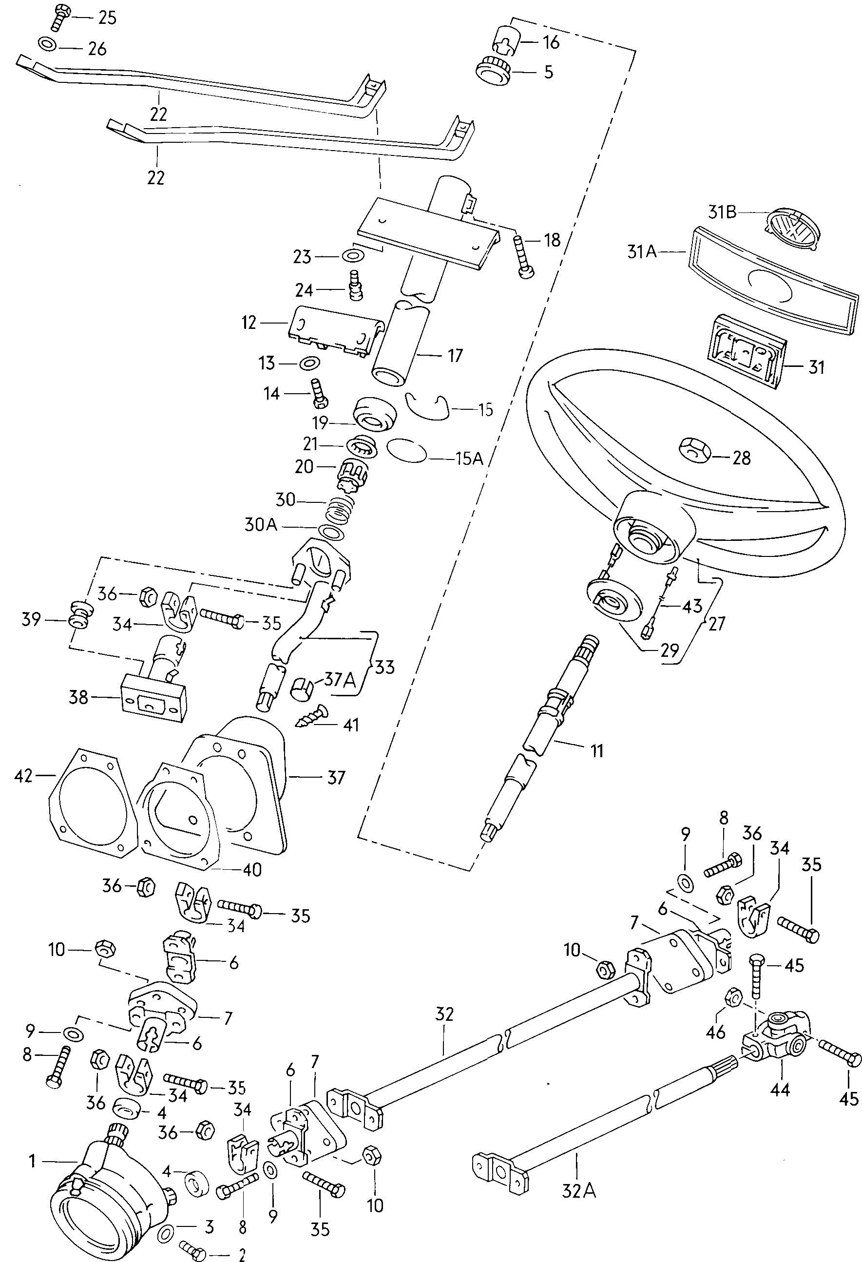 Volkswagen Tipo 2/T2 Kombi (1995 - 2003) - steering wheel