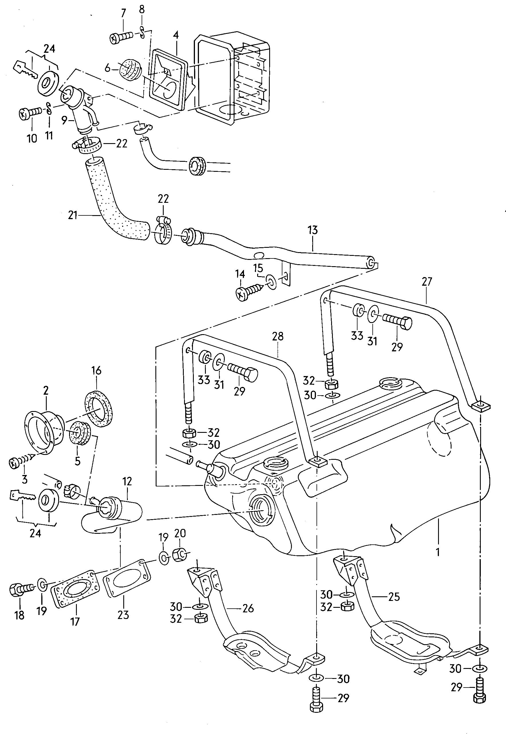 fuel tank  fuel filler neck  volkswagen vanagon syncro (1986 - 1992) / vag  etka