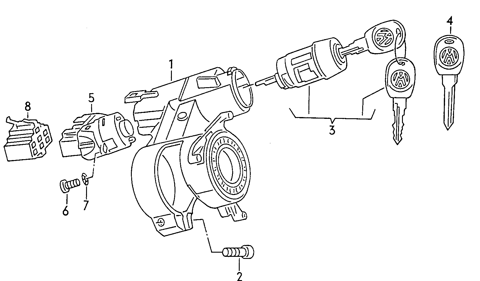 URO Parts 6N0 905 865 Ignition Switch