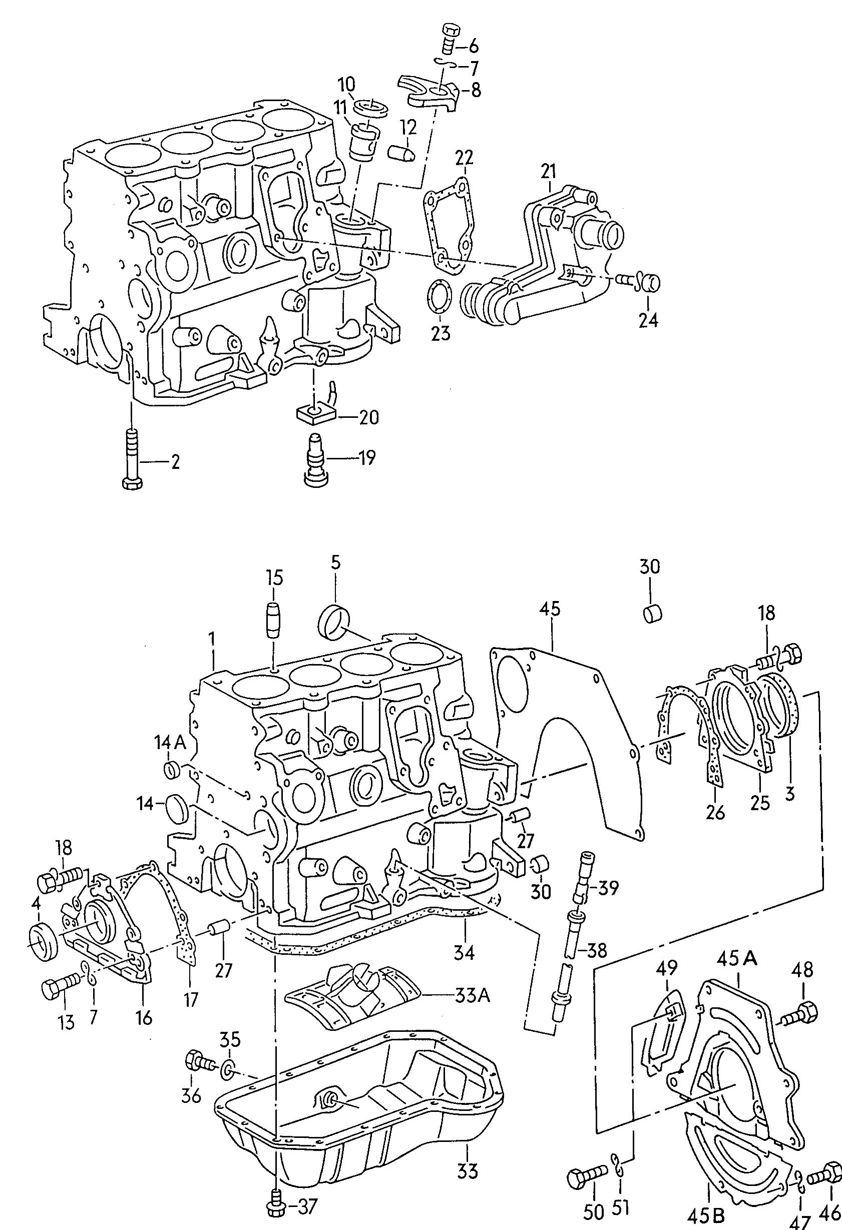 volkswagen golf cabrio 1996 1999 cylinder block with pistons oil sump vag etka online. Black Bedroom Furniture Sets. Home Design Ideas