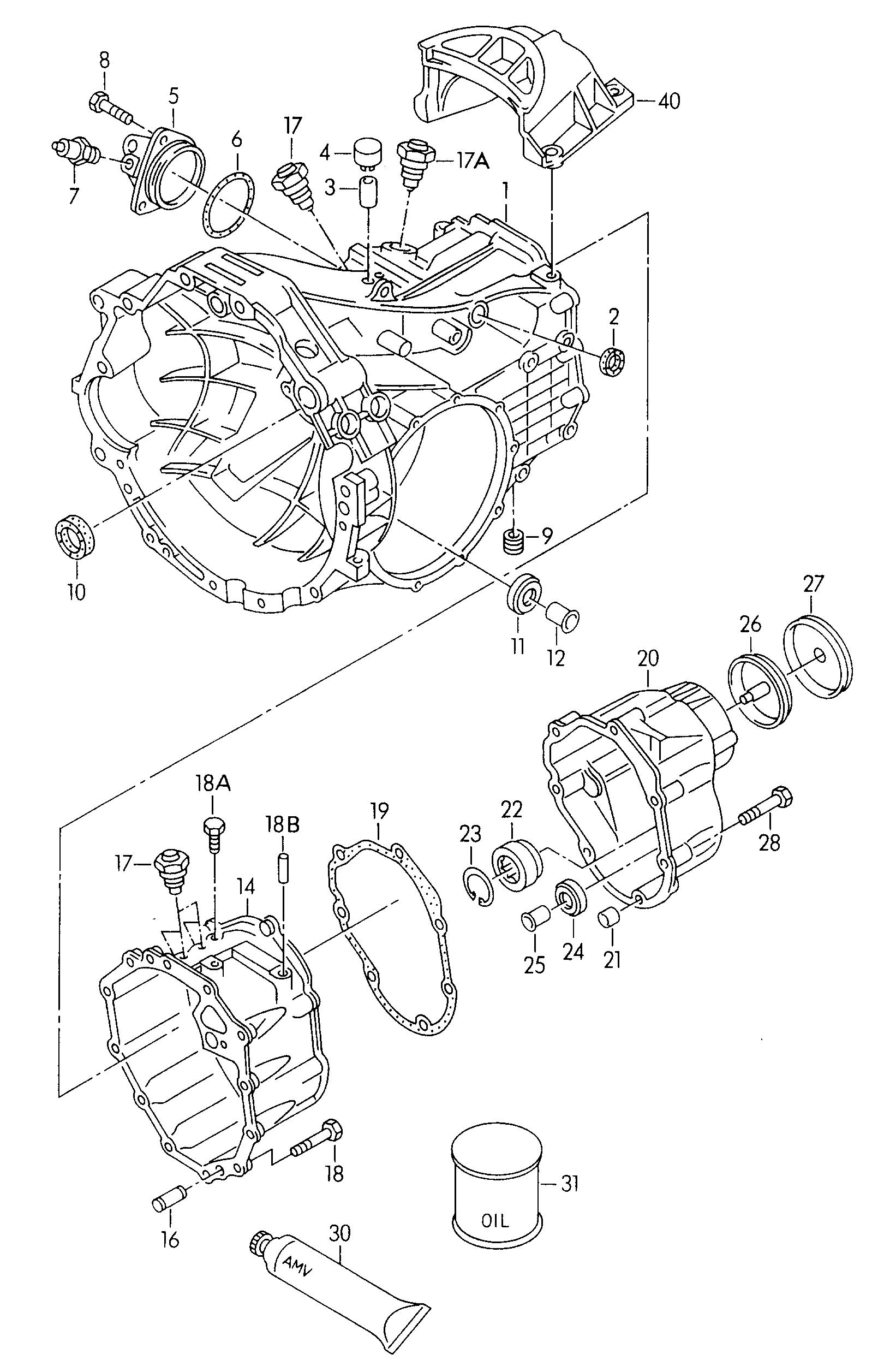 Audi A4/Avant (1999 - 2002) - gear housing  for 5 speed manual