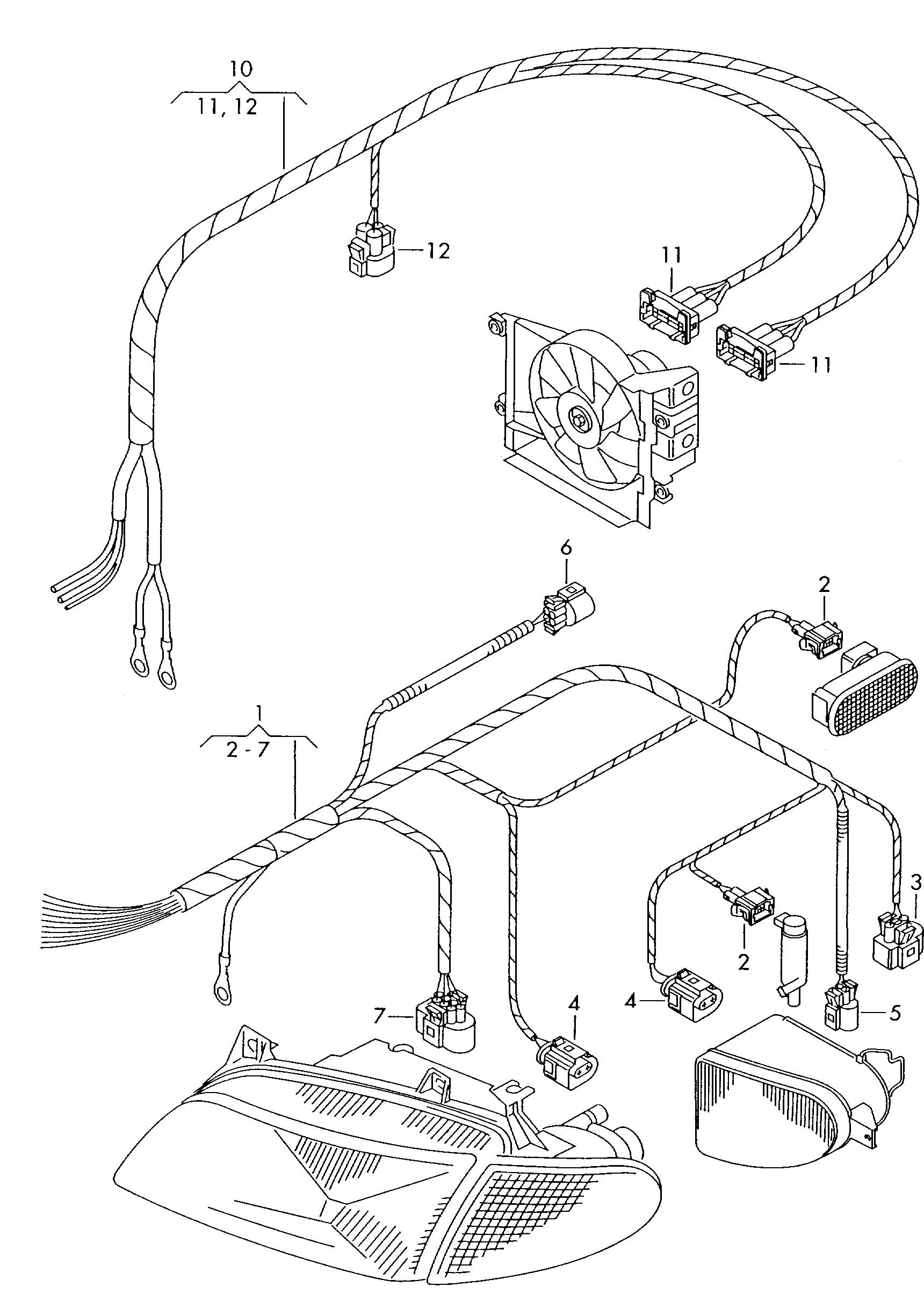 Volkswagen Sharan 1996 2000 For Radiator Fan Part Section Wiring Harness Vag Etka