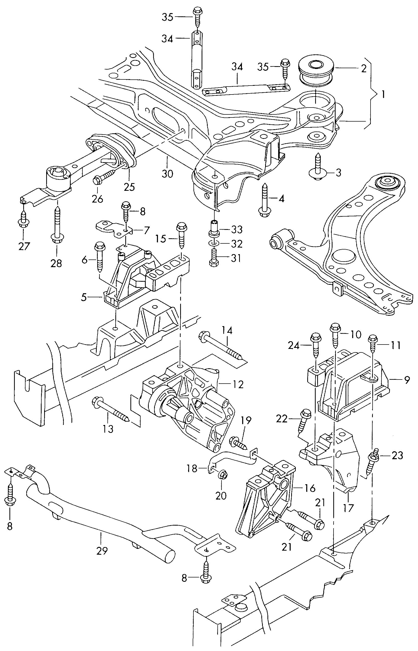 volkswagen beetle 1998 2001 mounting parts for engine and Volkswagen Beetle Transmission Diagram volkswagen beetle 1998 2001 vag etka
