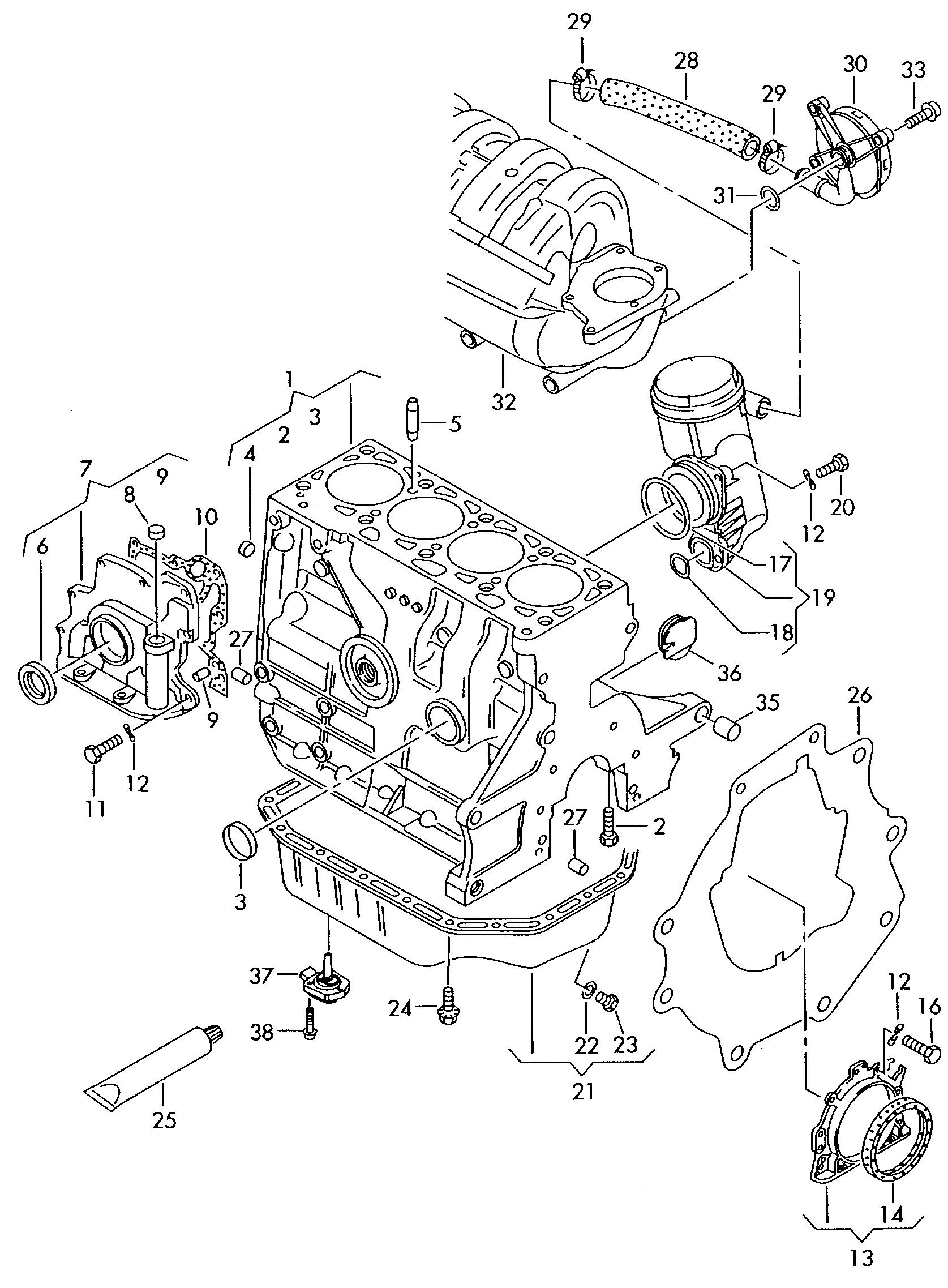 Volkswagen Golf R32 2002 Cylinder Block With Pistons Vw Engine Piston Diagram Vag Etka